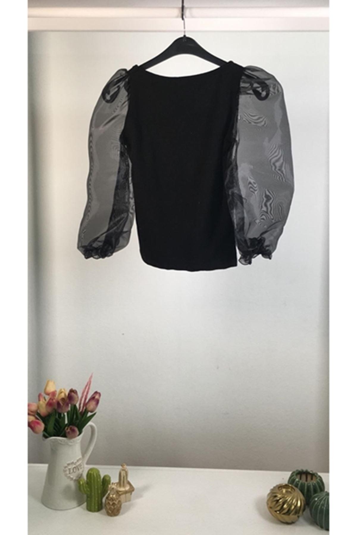 Kolları tül detaylı akrelik bluz VS133 SİYAH