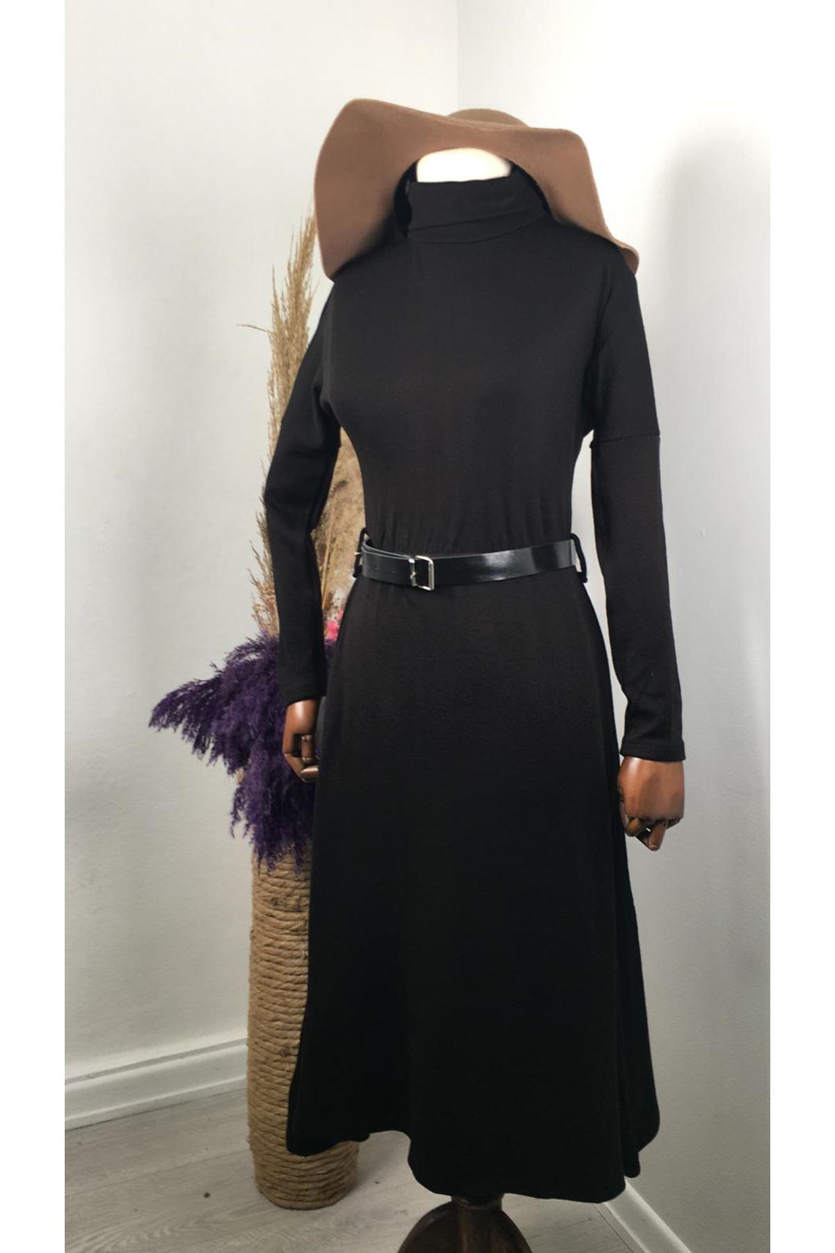 Kemerli Midiboy Triko Elbise VS189 - Siyah