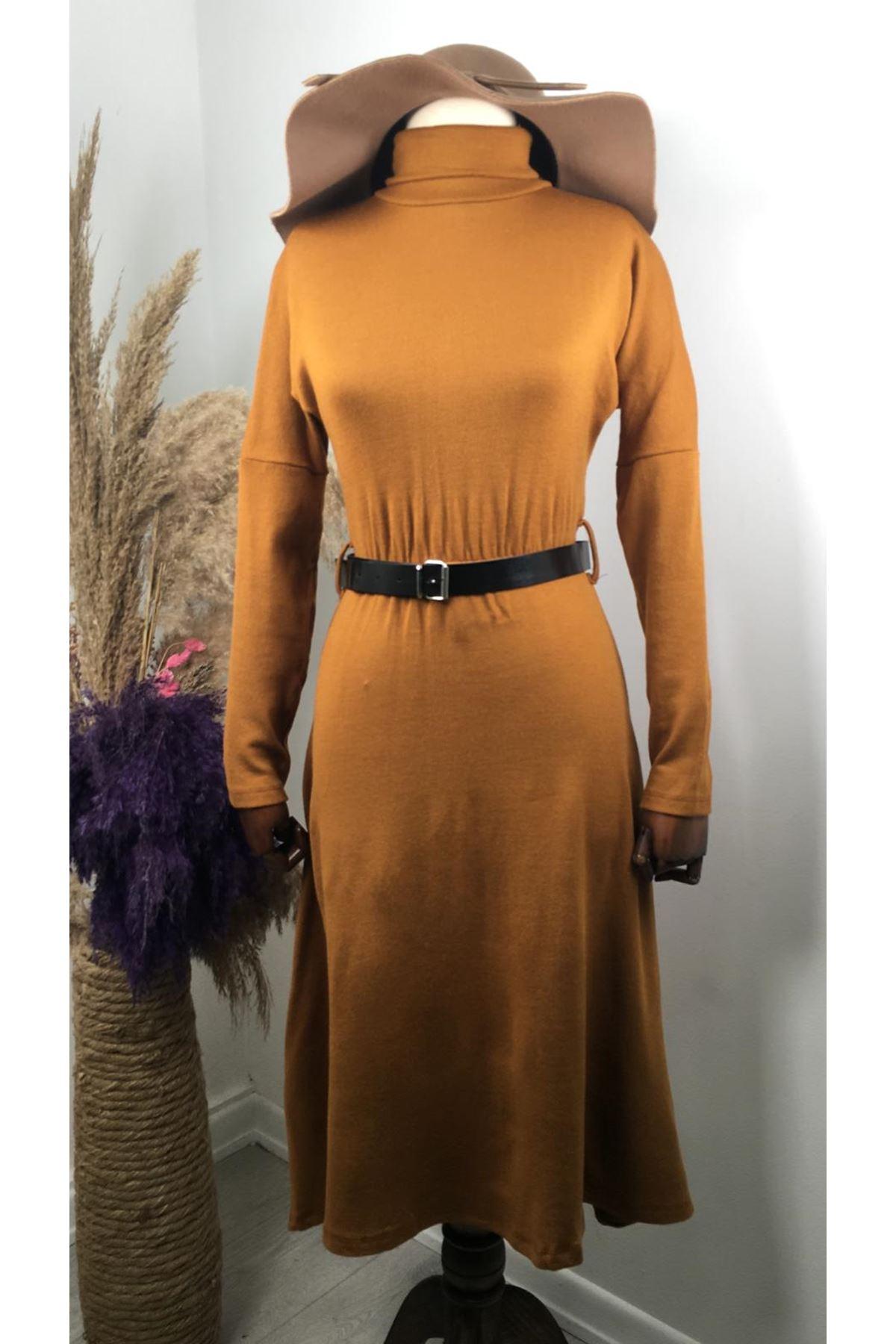 Kemerli Midiboy Triko Elbise VS189 - Taba