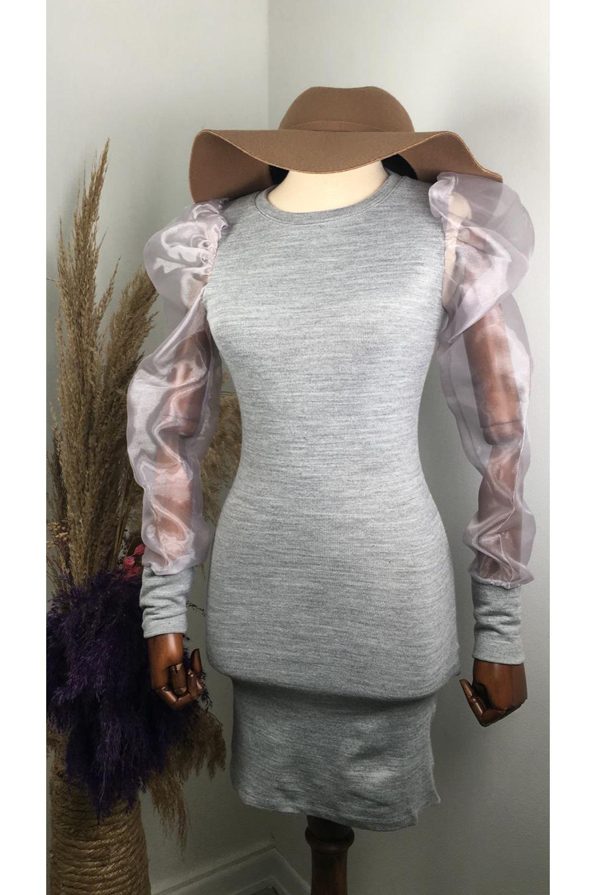 Karpuz kol tül detaylı akrelik elbise - GRİ -VS151