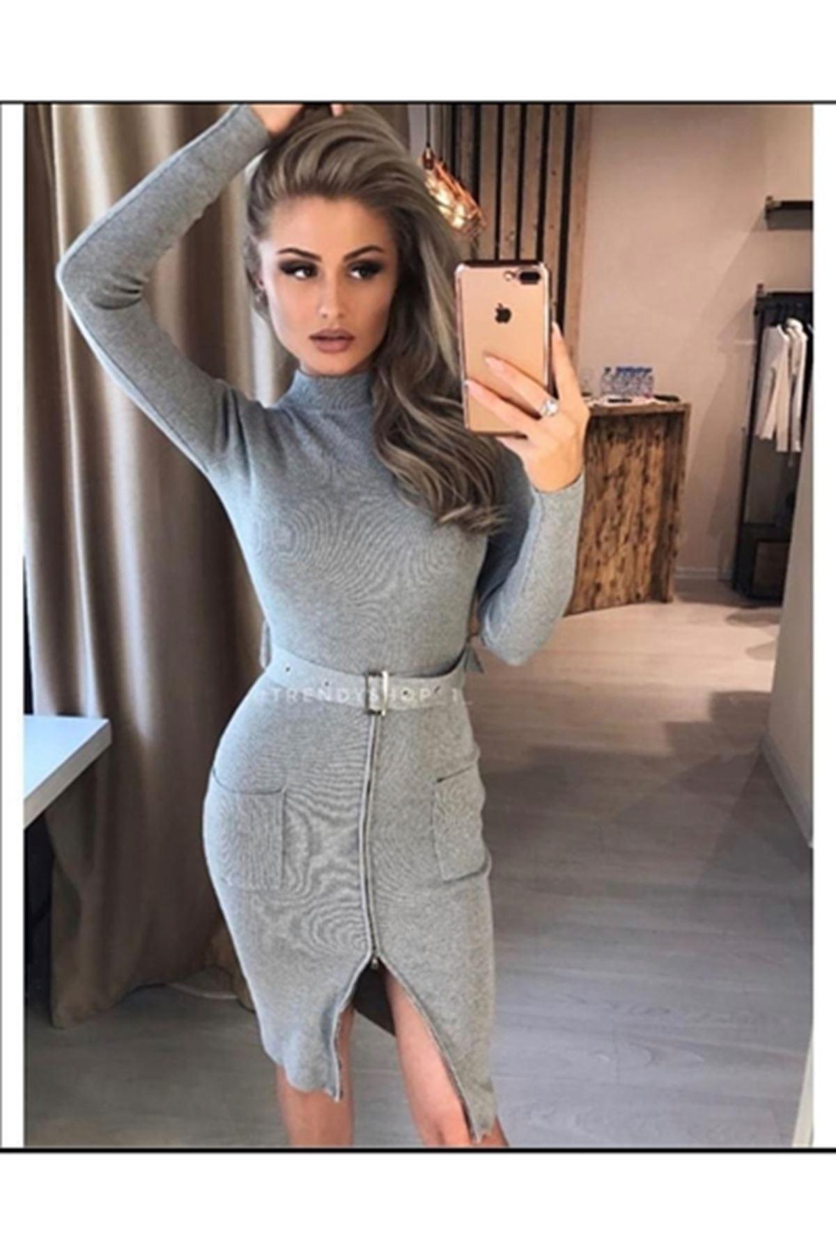 Fermuar ve Kemer Aksesuarlı Elbise ES103 GRİ