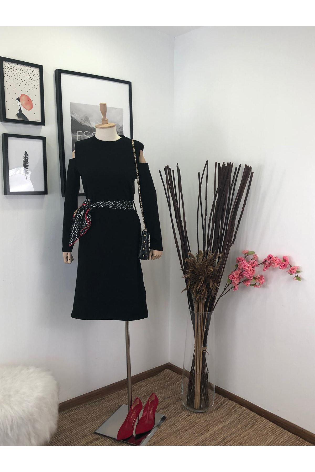 Omuzları açık akrelik elbise  (ES130) SİYAH