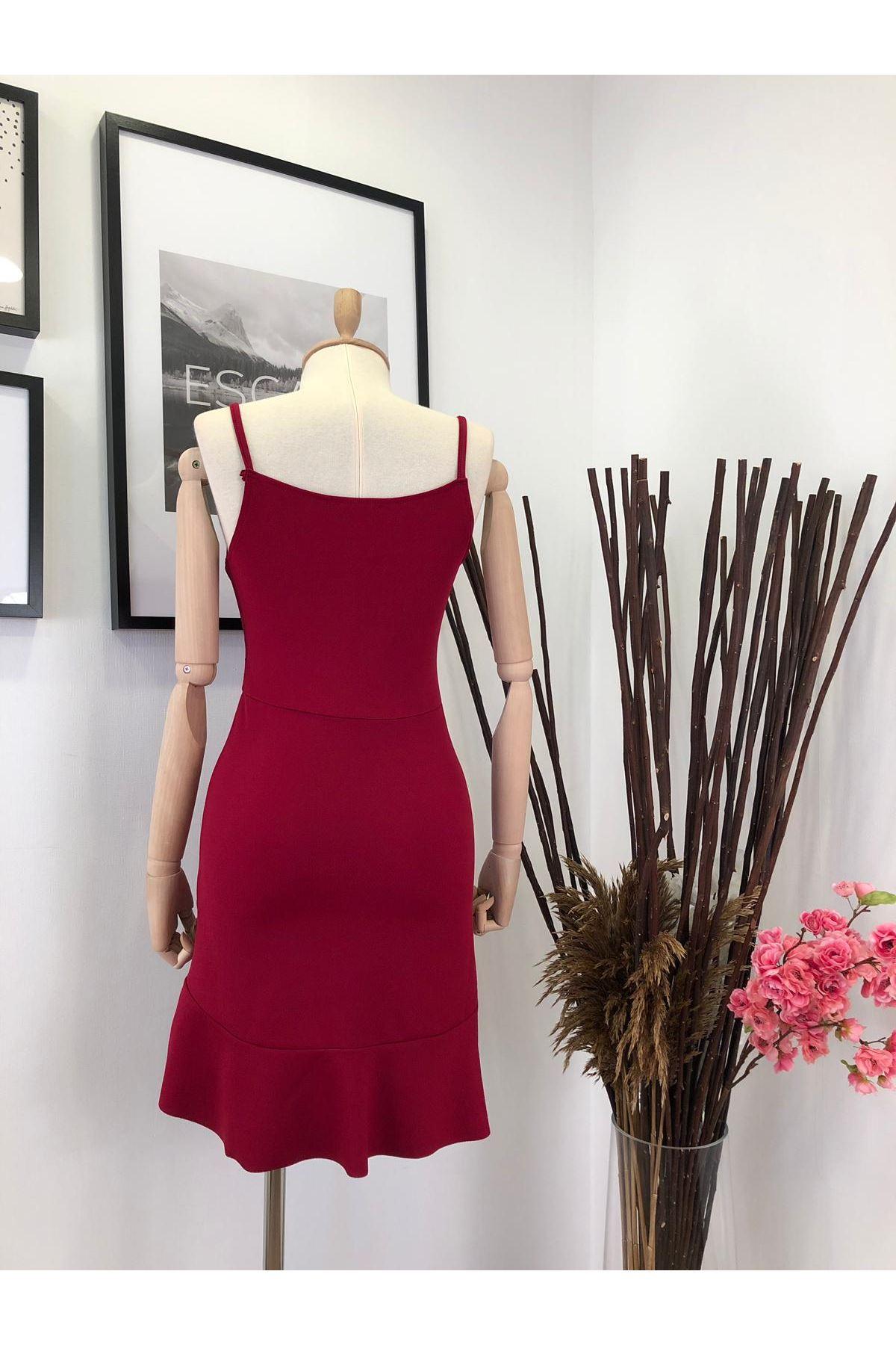 Fırfır tasarım krep elbise - KIRMIZI