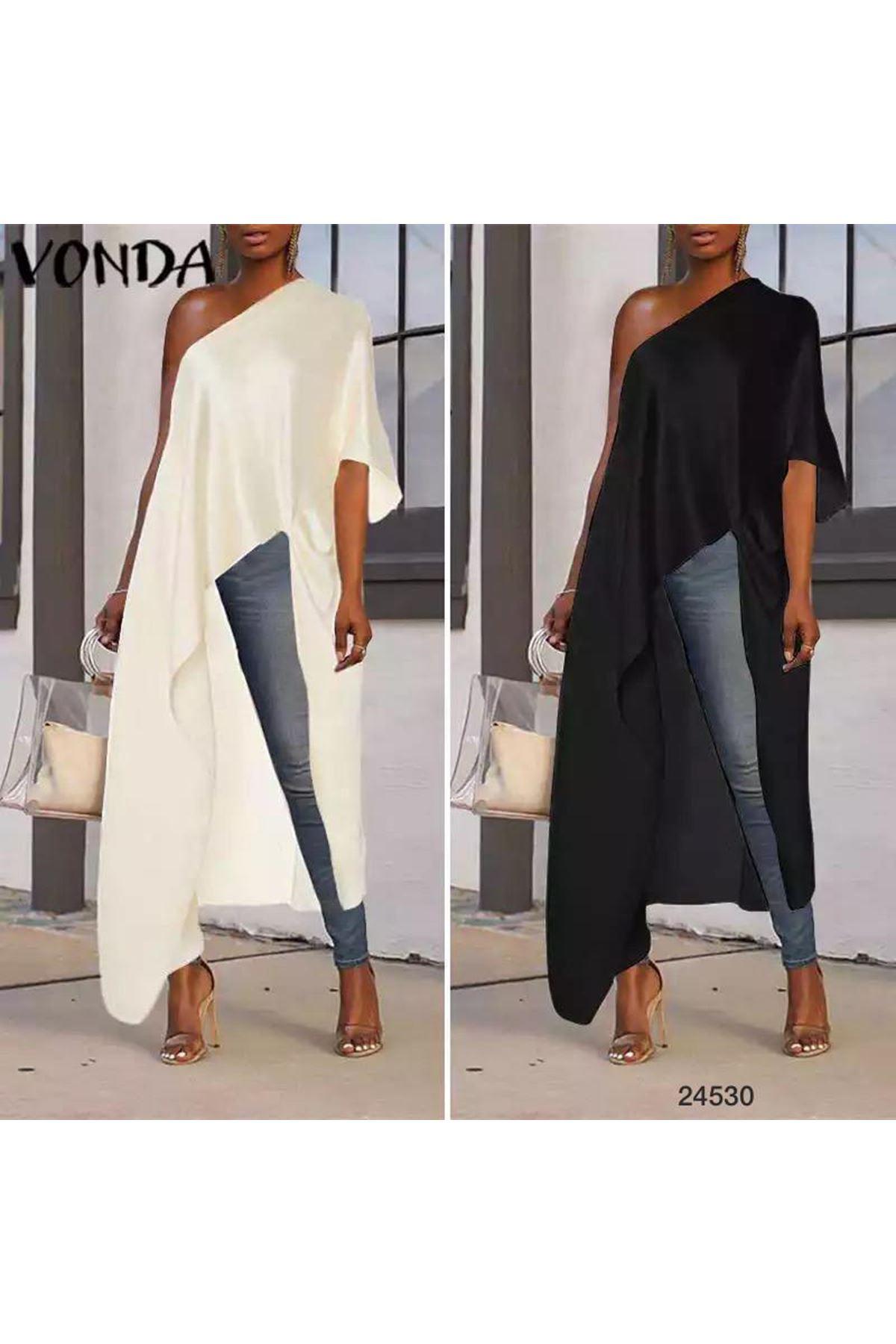 Tek Omuzdan Tasarım Tunik Bluz - Siyah