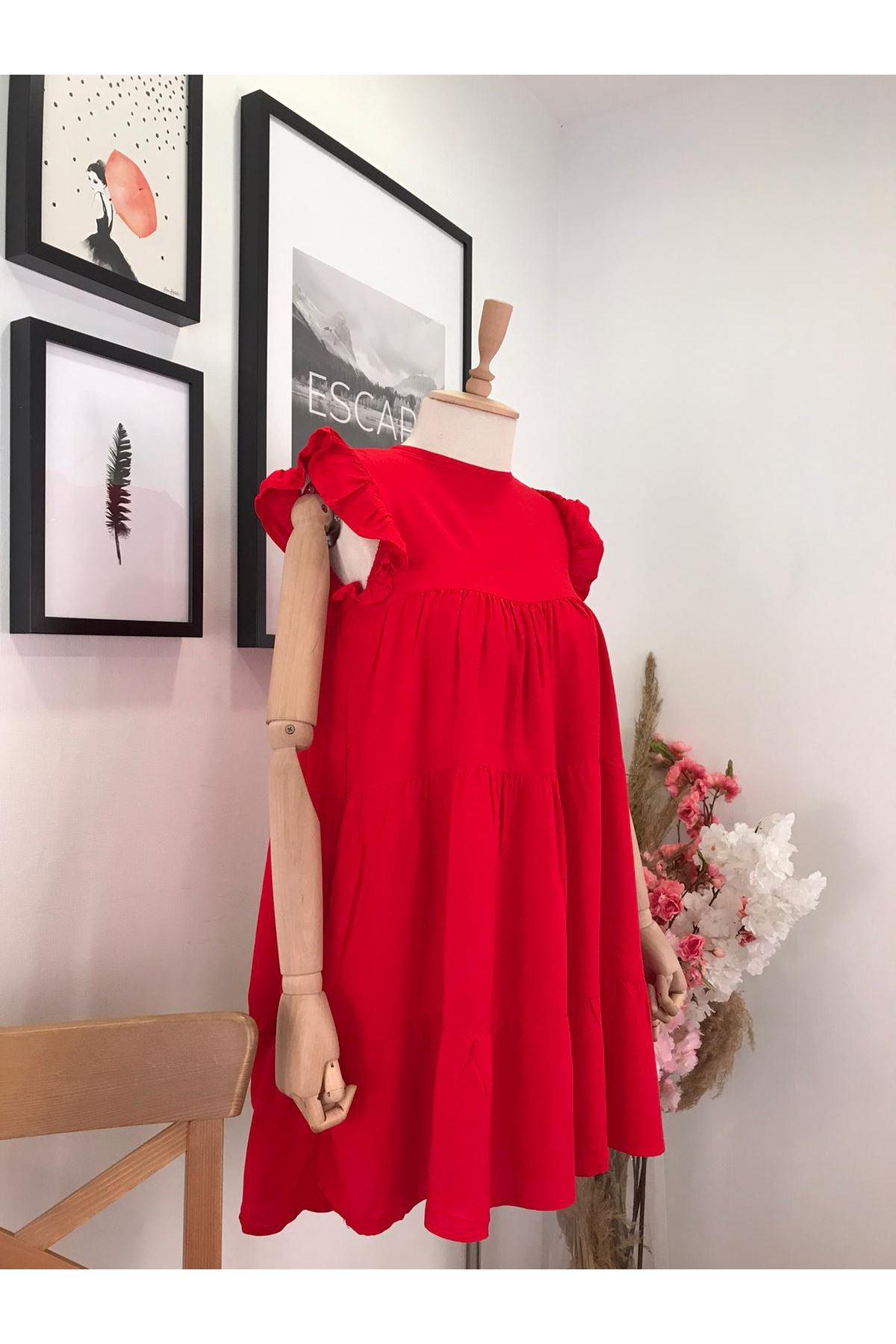 Sırt Detaylı Kat Kat Elbise S903  KIRMIZI