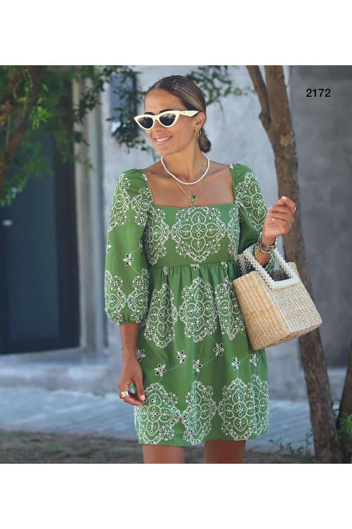 Fisto Nakışlı Kare Yaka Elbise - Yeşil