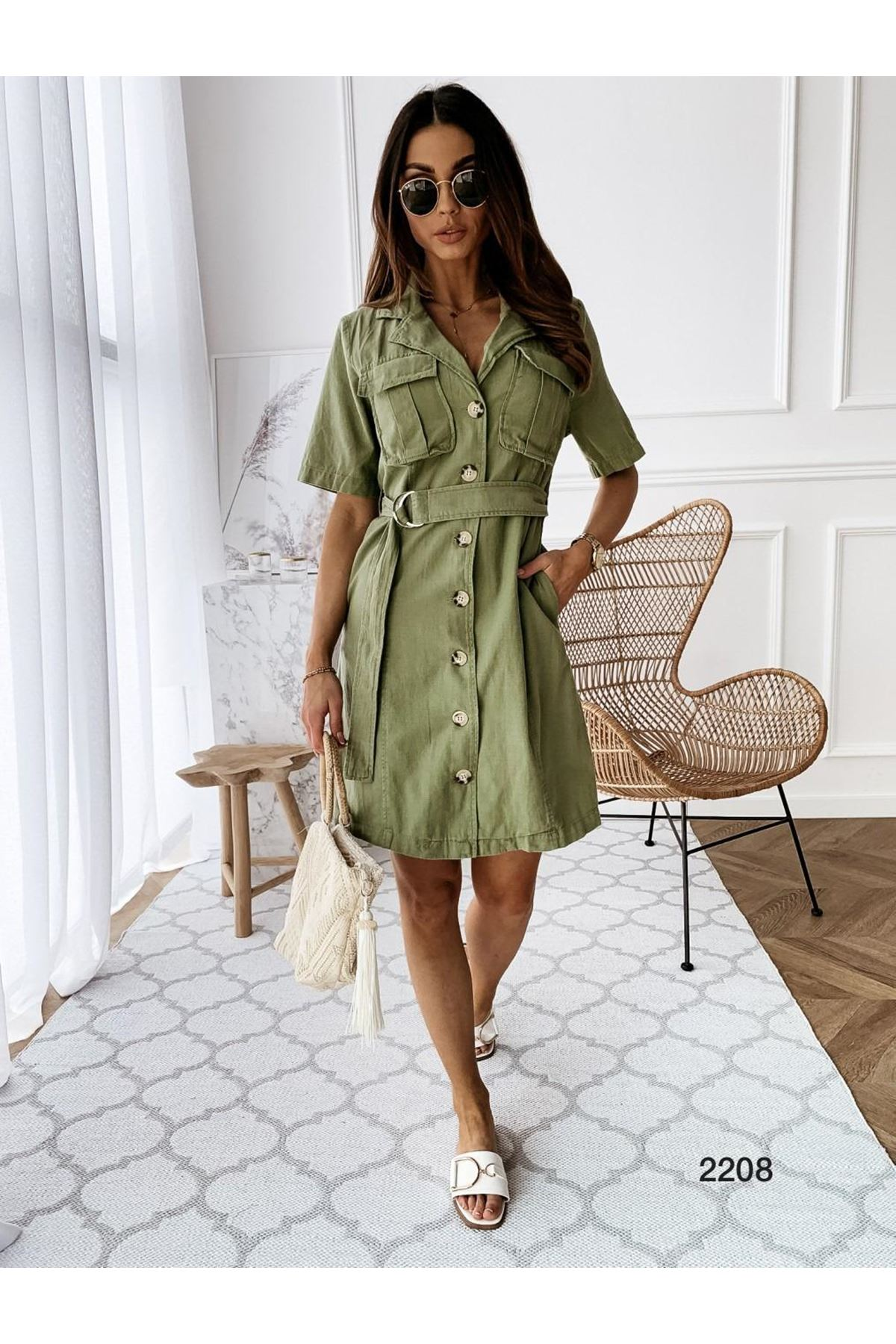 Kemer Aksesuarlı Cepli Gömlek Elbise - YEŞİL K161