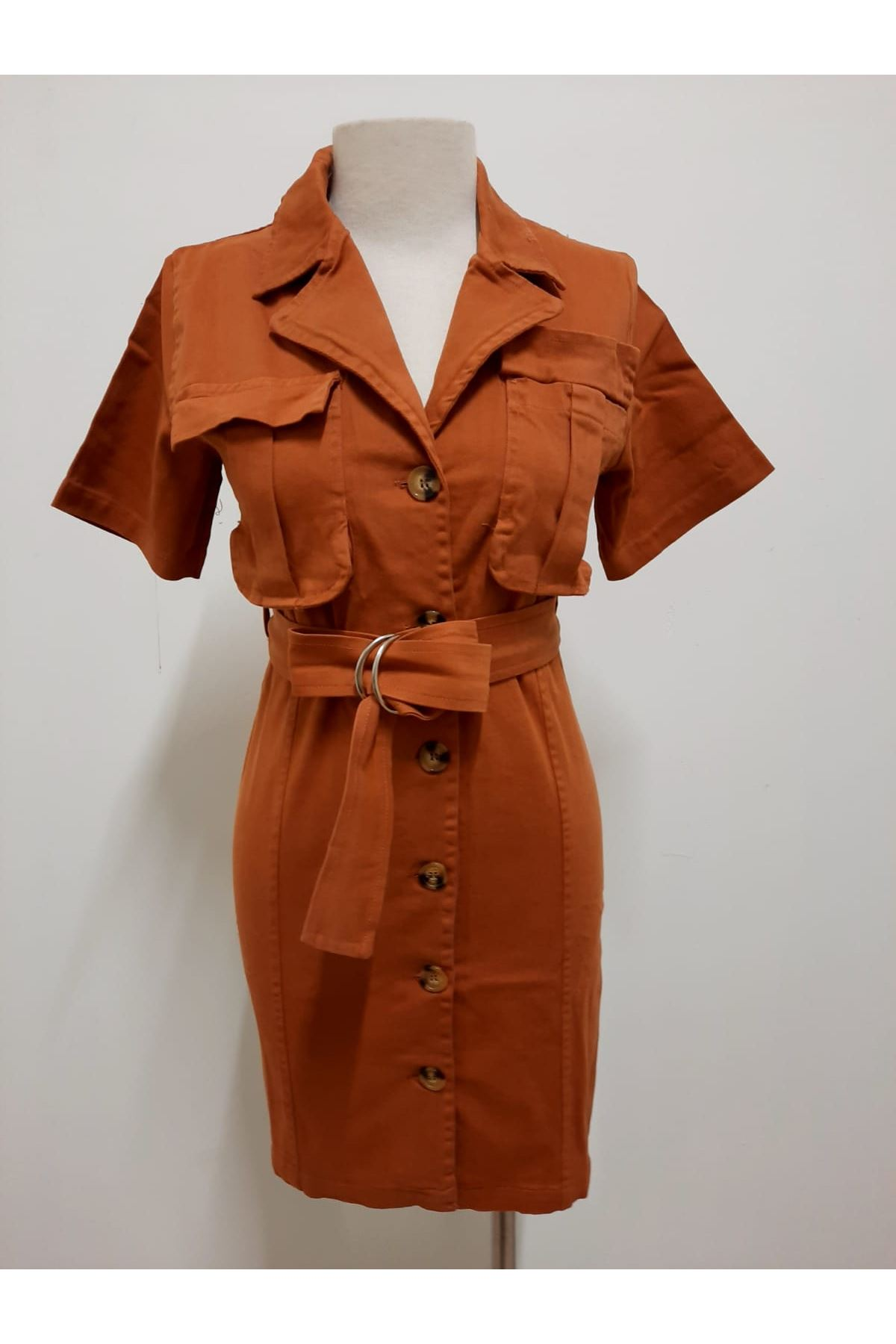 Kemer Aksesuarlı Cepli Gömlek Elbise - KİREMİT K161