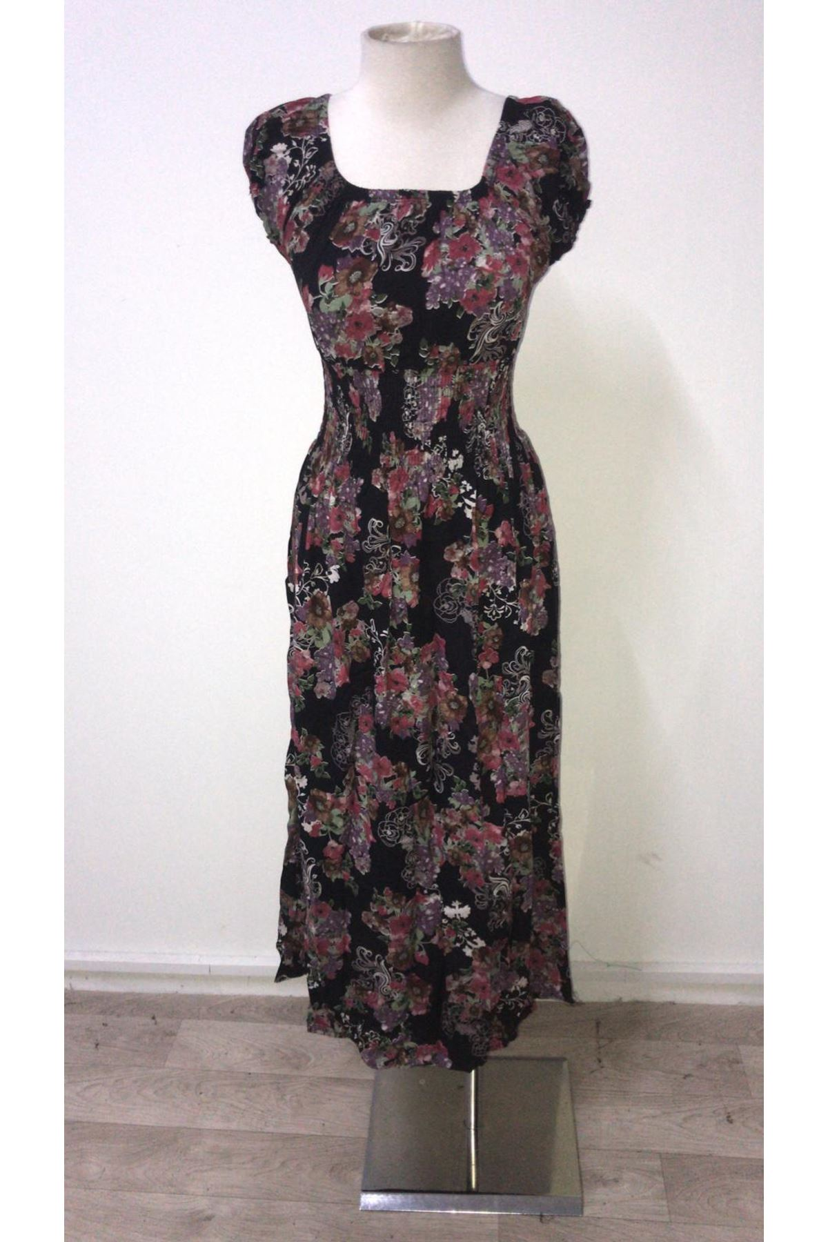 Lavanta Desen Elbise - siyah