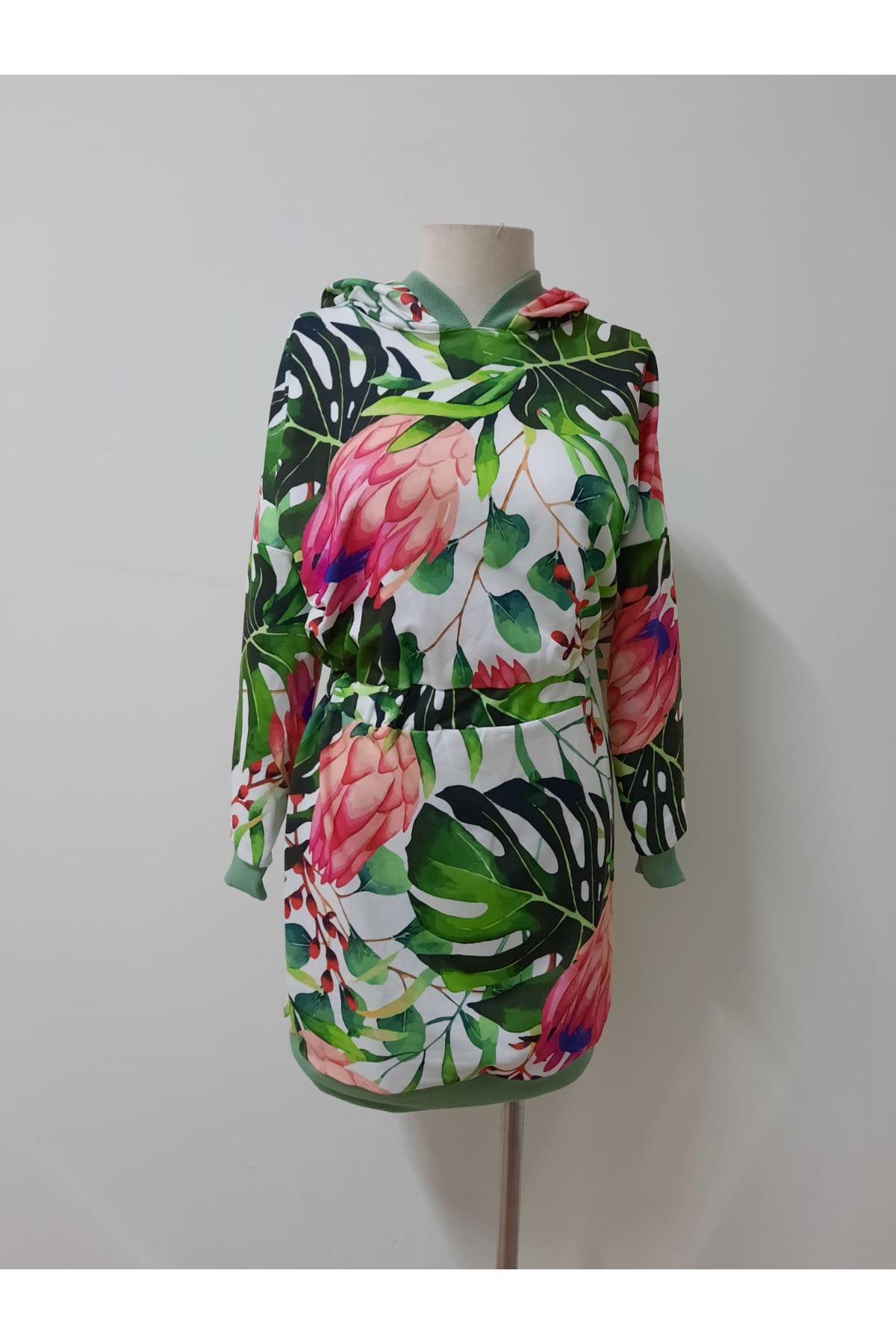 Çiçek Desenli İki İplik Elbise - MULTİ