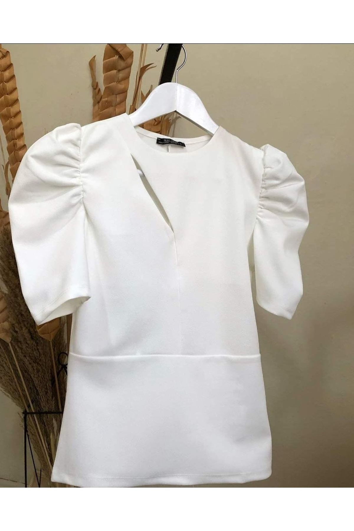 Prenses Omuz Bluz - beyaz