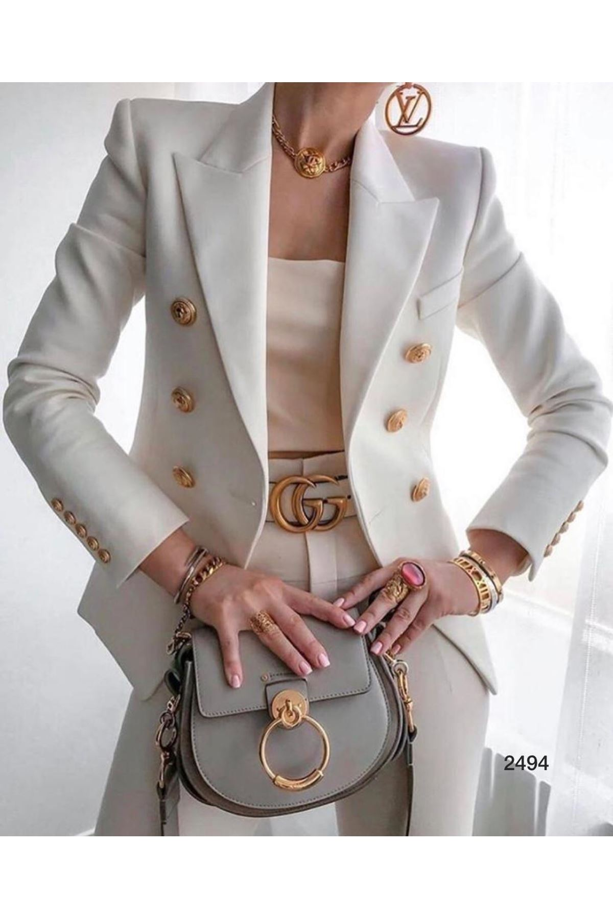 Düğmeli Blazer Ceket - ekru