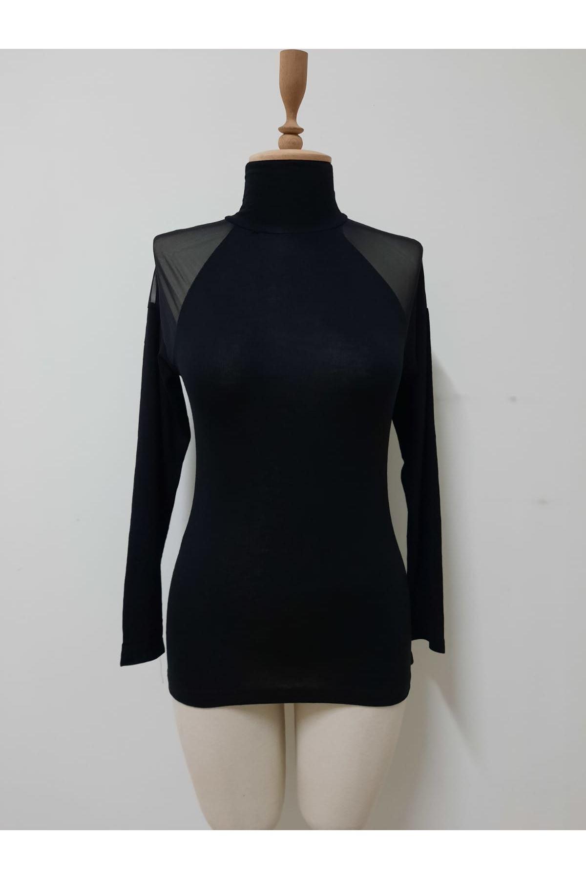 Omuzlar Tül Boğazlı Bluz - siyah
