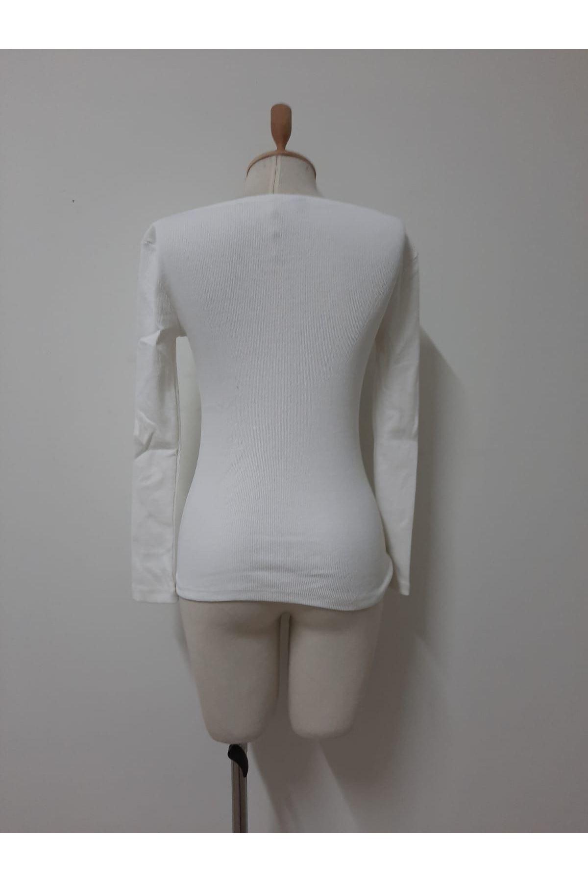 Düğme Detay Uzun Kollu Bluz - beyaz