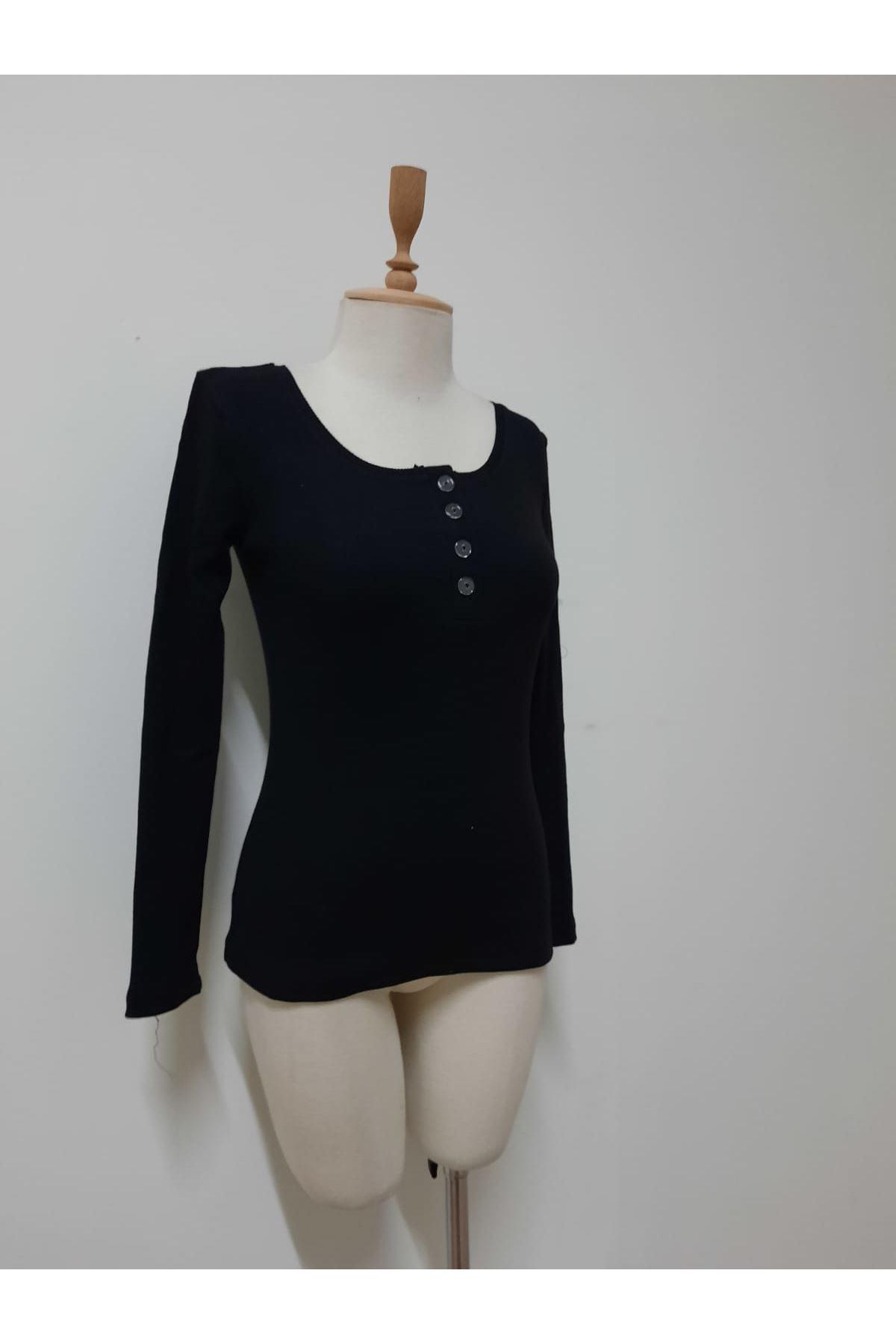 Düğme Detay Uzun Kollu Bluz - siyah