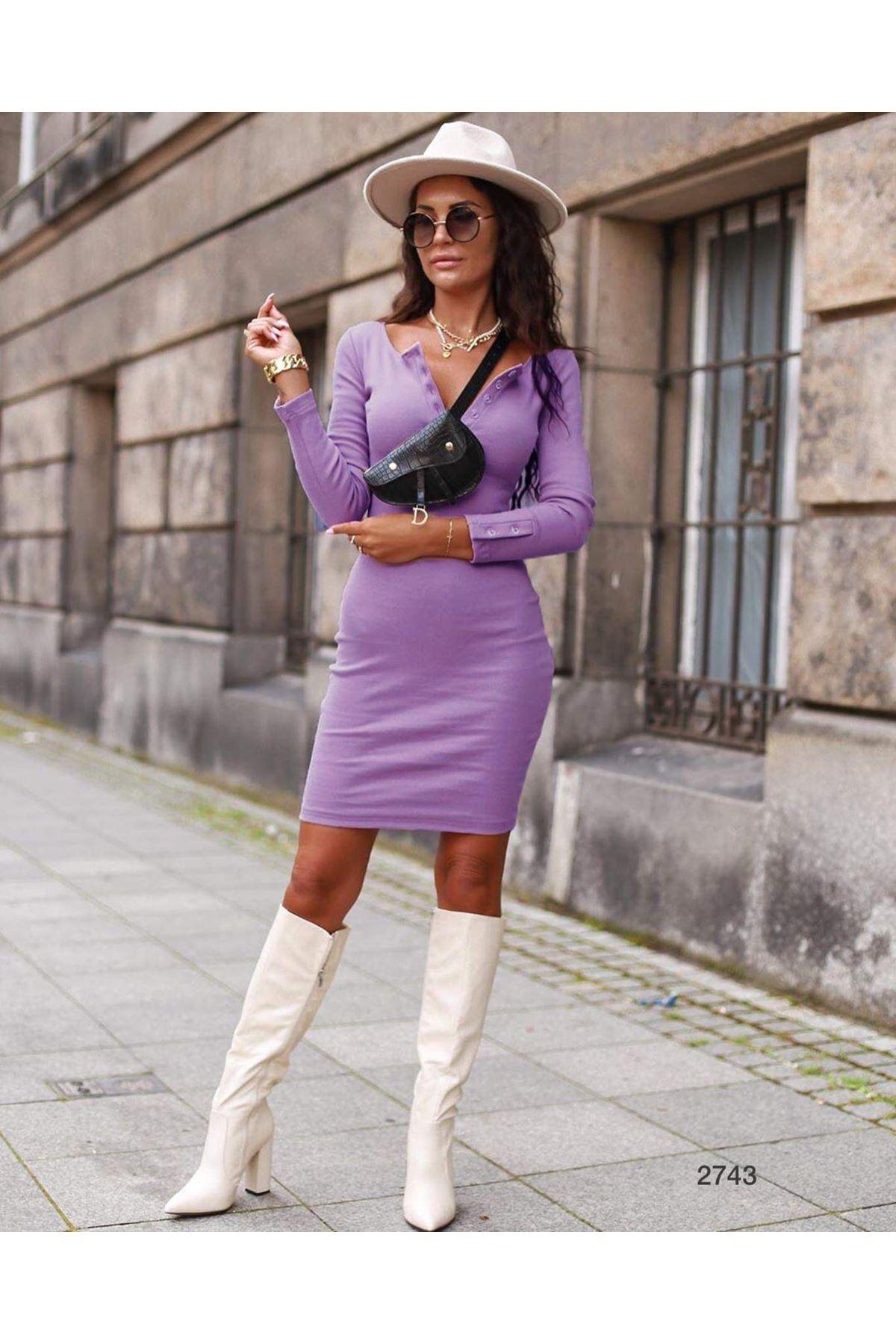 Yaka Düğmeli Kaşkorse Elbise - LİLA
