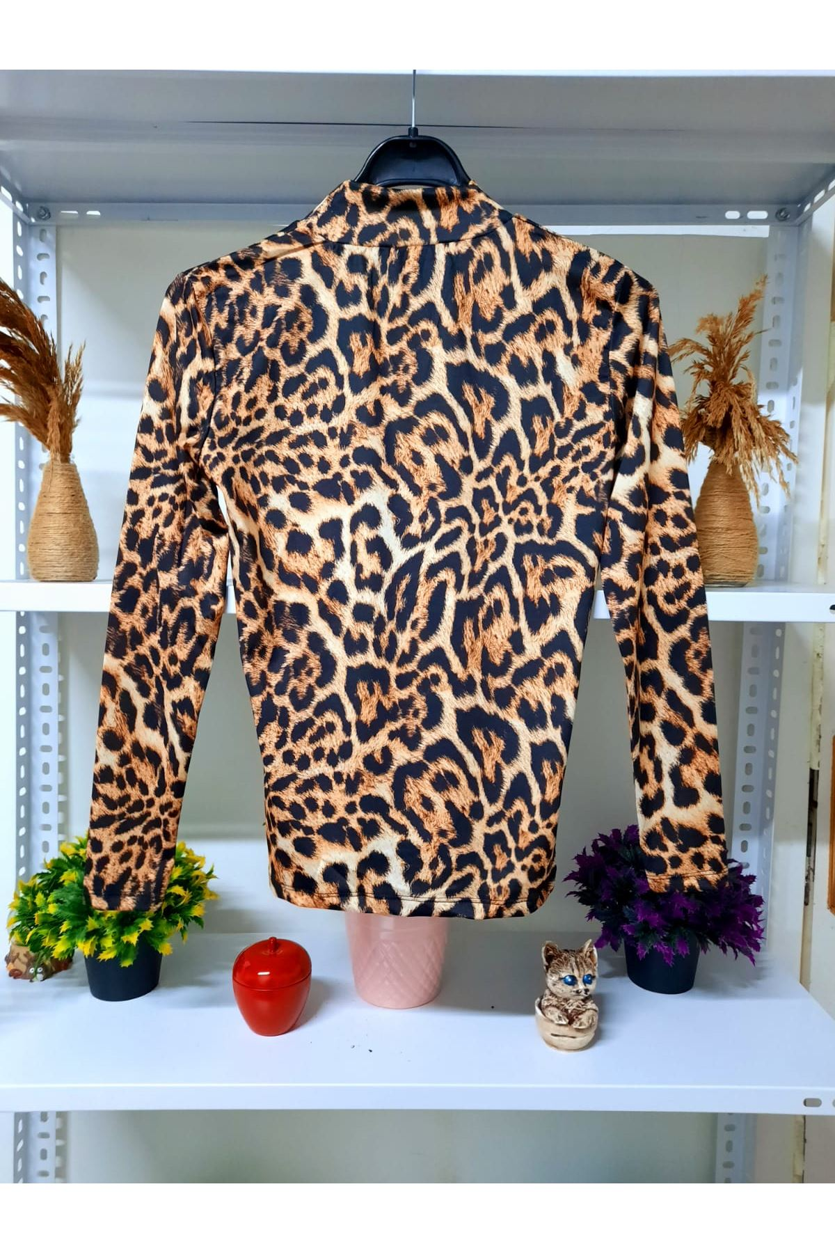Boğazlı Leopar Bluz - leopar