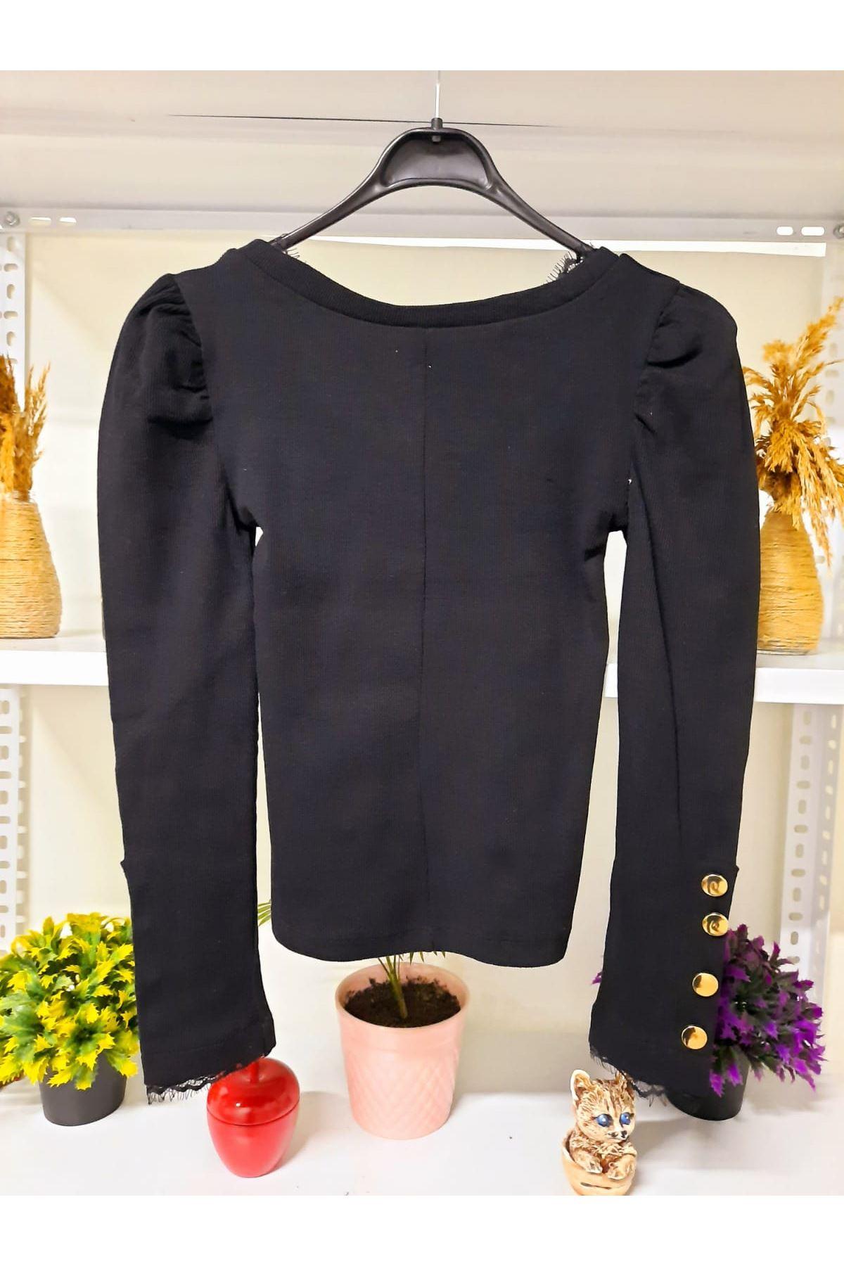 Kol Ve Yaka Dantel Detay Bluz - siyah
