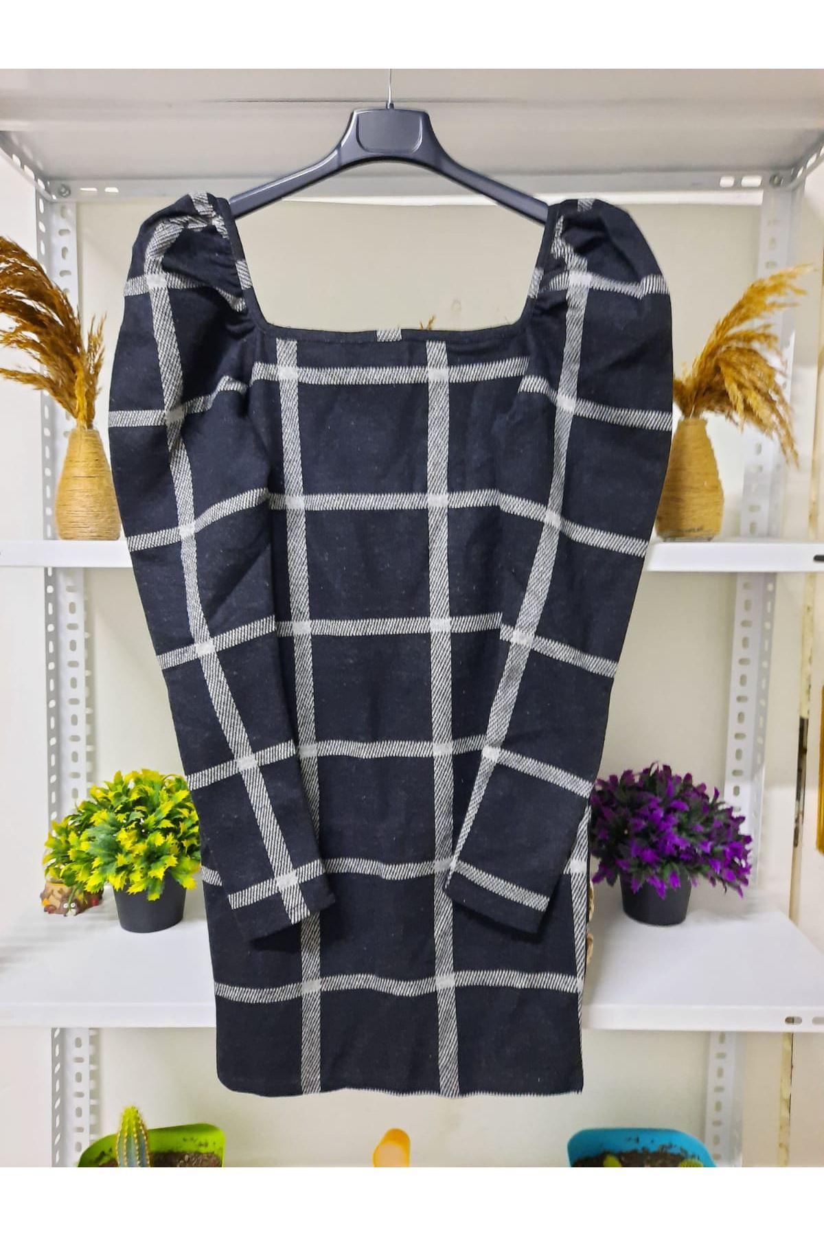 Geniş Ekoseli Mini Elbise - SİYAH