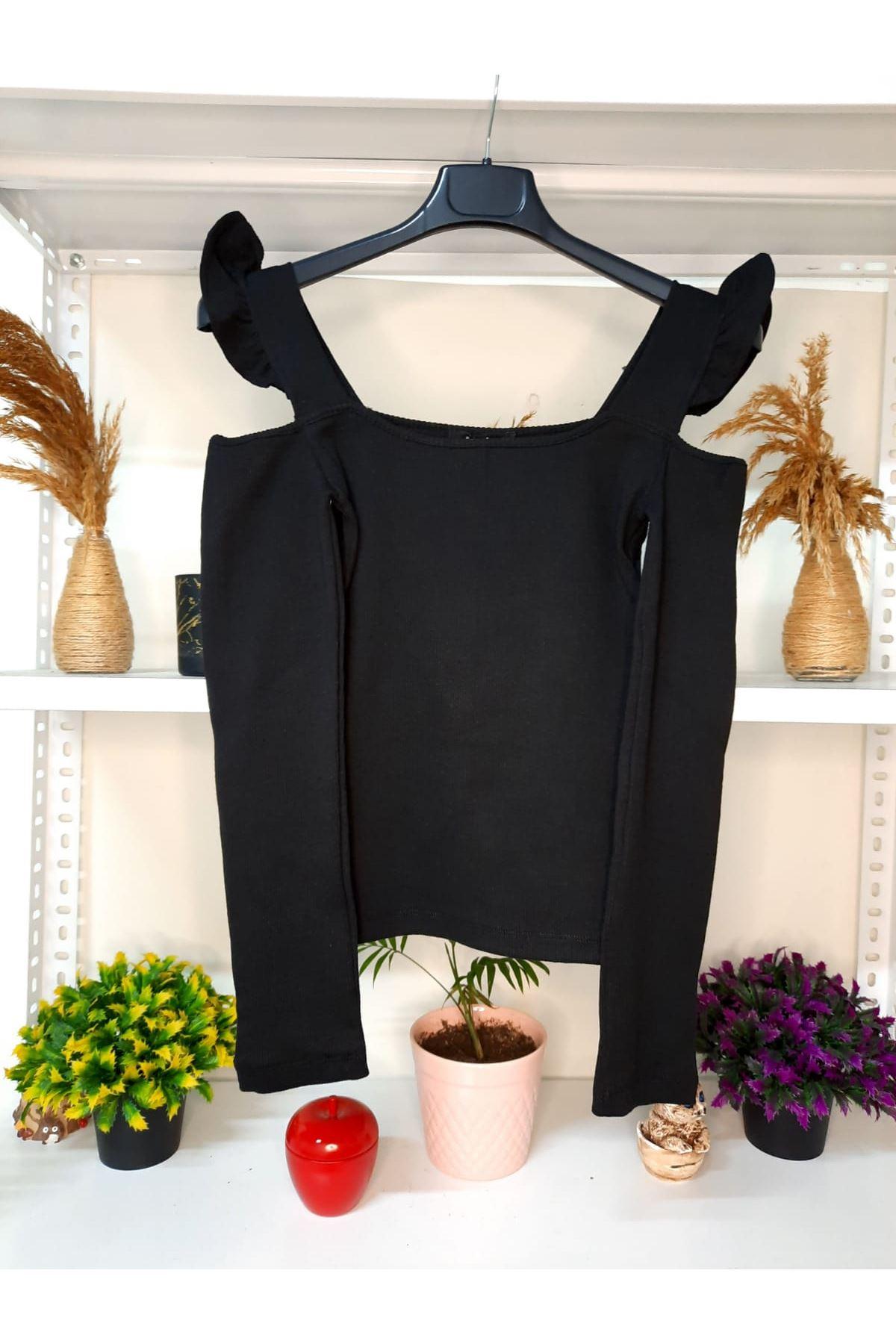 Omuz Detay U Yaka Bluz - siyah