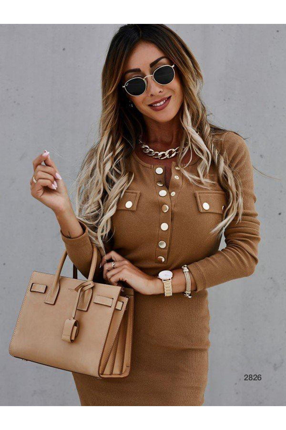 Düğme Aksesuar Kaşkorse elbise - VİZON