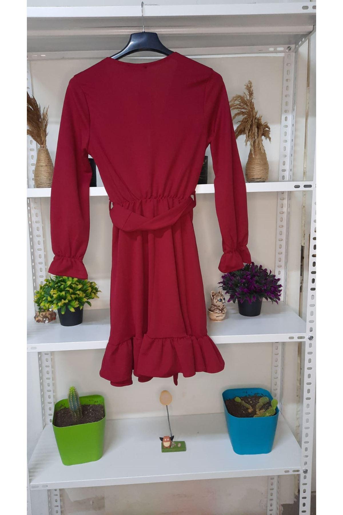 Kravuze Kuşaklı Elbise - bordo