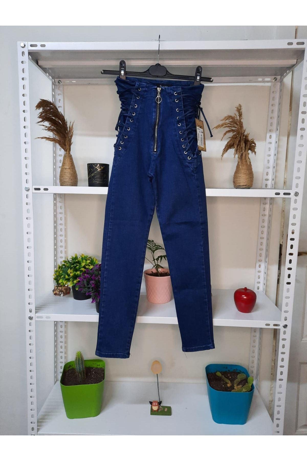 Bağcık Detaylı Kot Pantolon - MAVİ