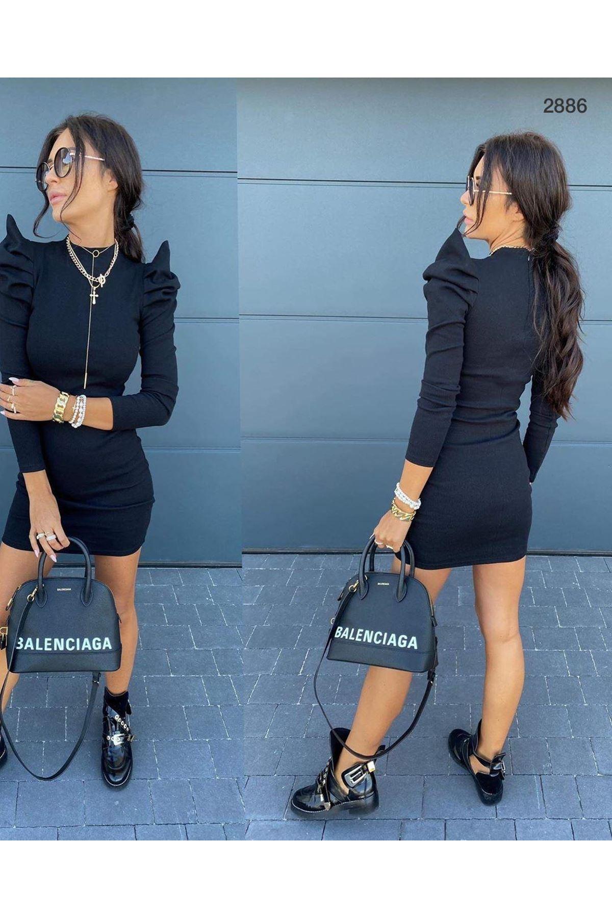Prenses Omuz Kaşkorse Elbise - siyah