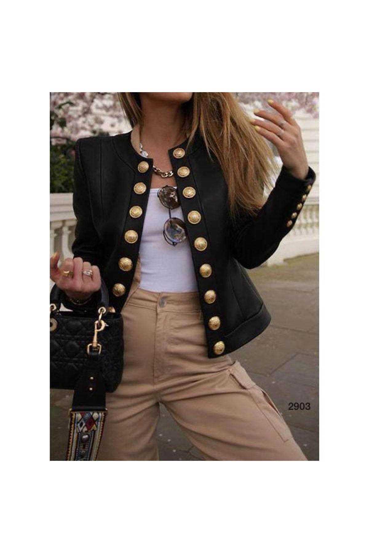 Düğmeli Süet Ceket - siyah