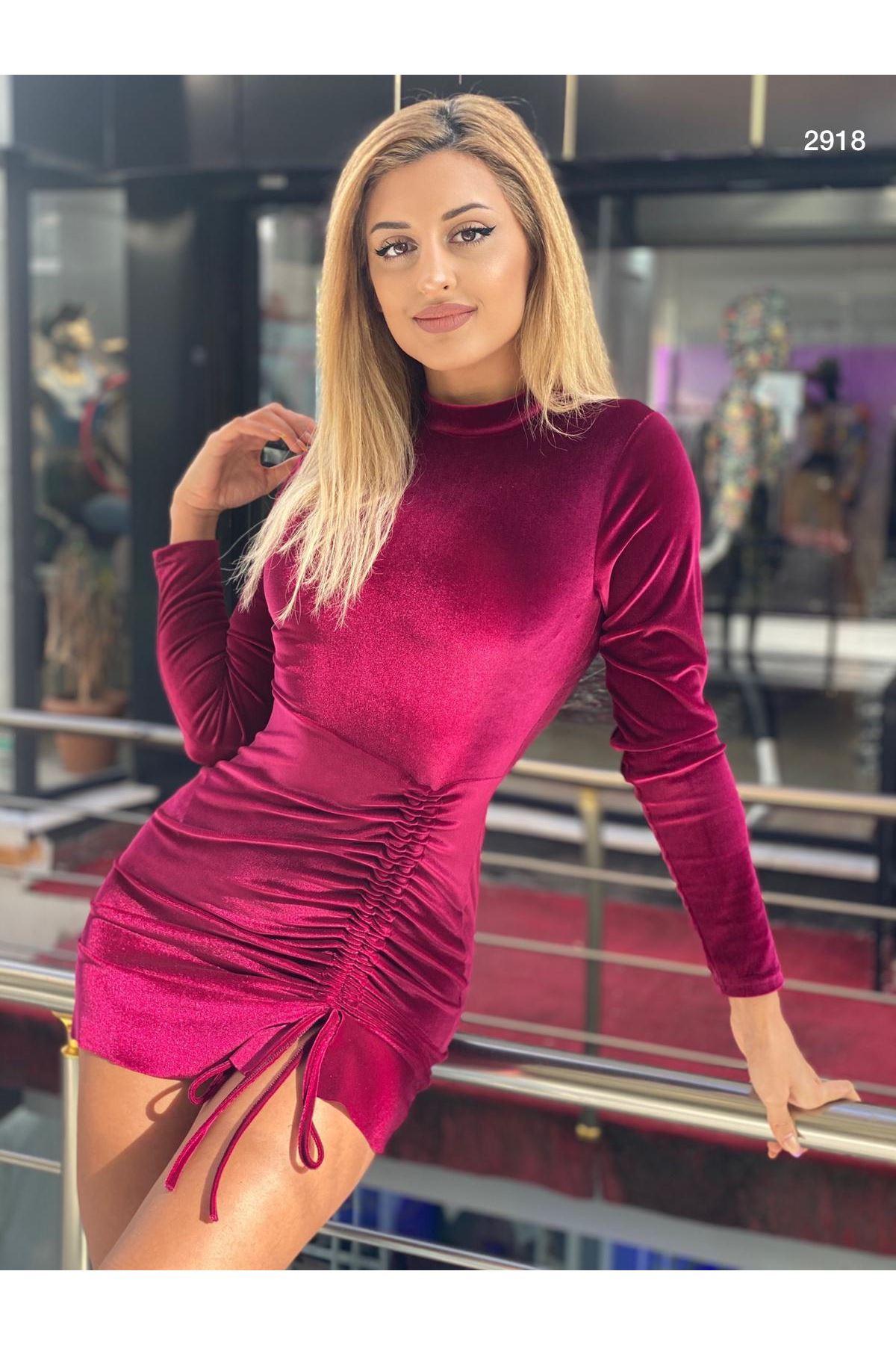 Yanı Büzgü Kadife Elbise - bordo