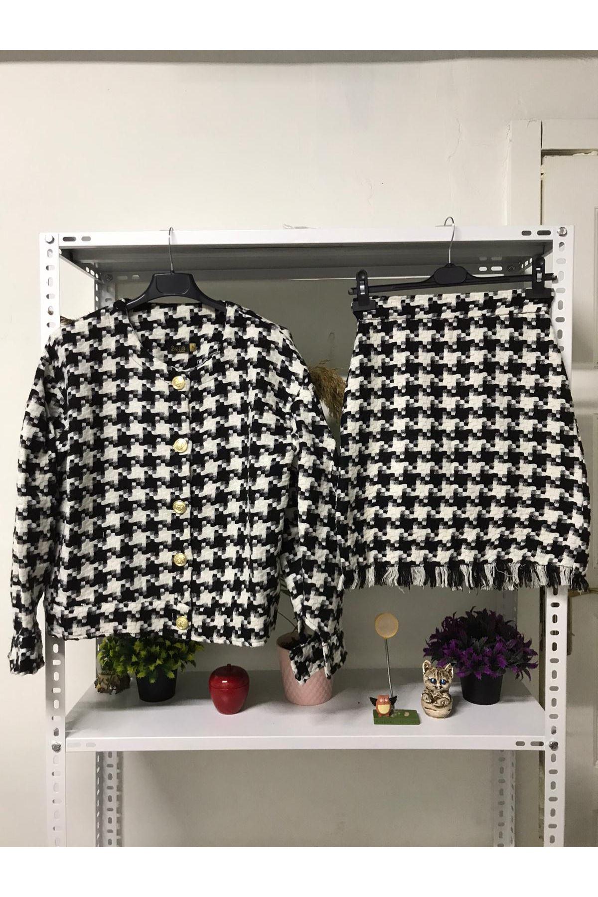 Geniş Düğmeli Kasayağı Takım - Siyah