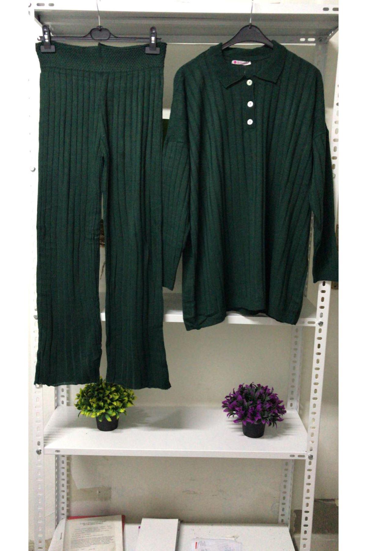 Fitilli Triko İkili Takım - yeşil