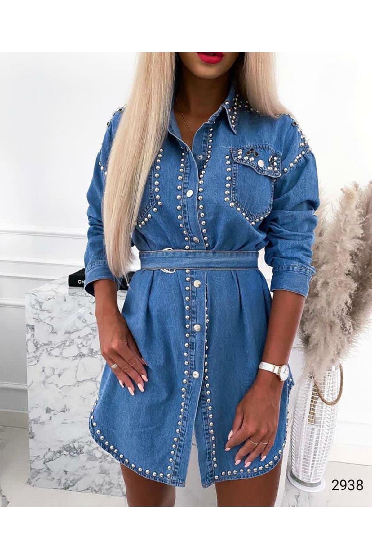 İncili Kot Elbise - Mavi