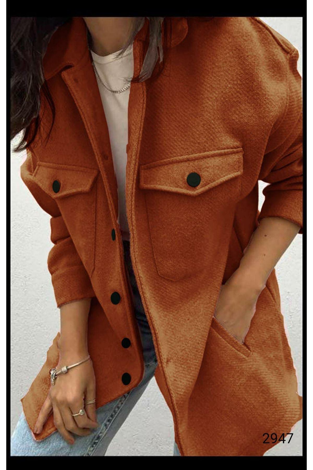 Cep Detaylı Kaşe Gömlek Ceket - TABA