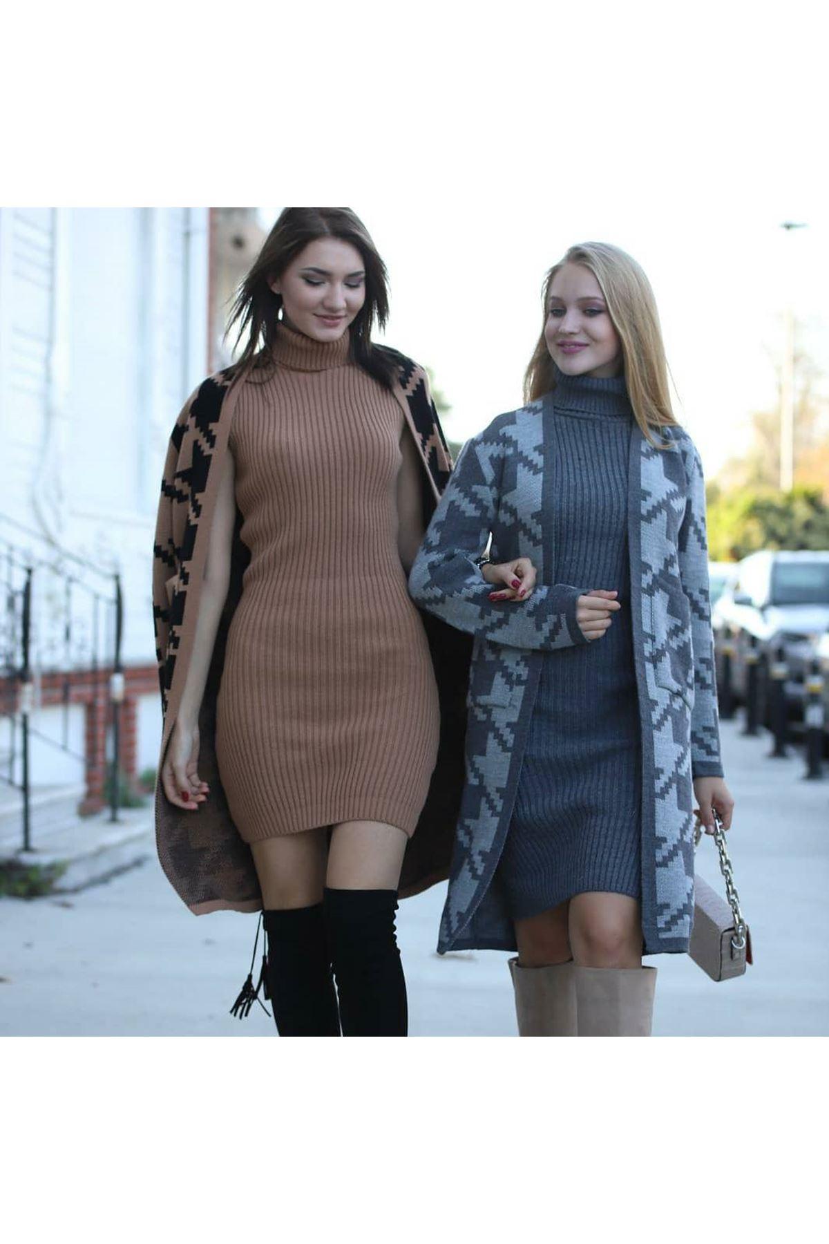 Kazayağı Triko Hırka+Elbise Kombin - GRİ