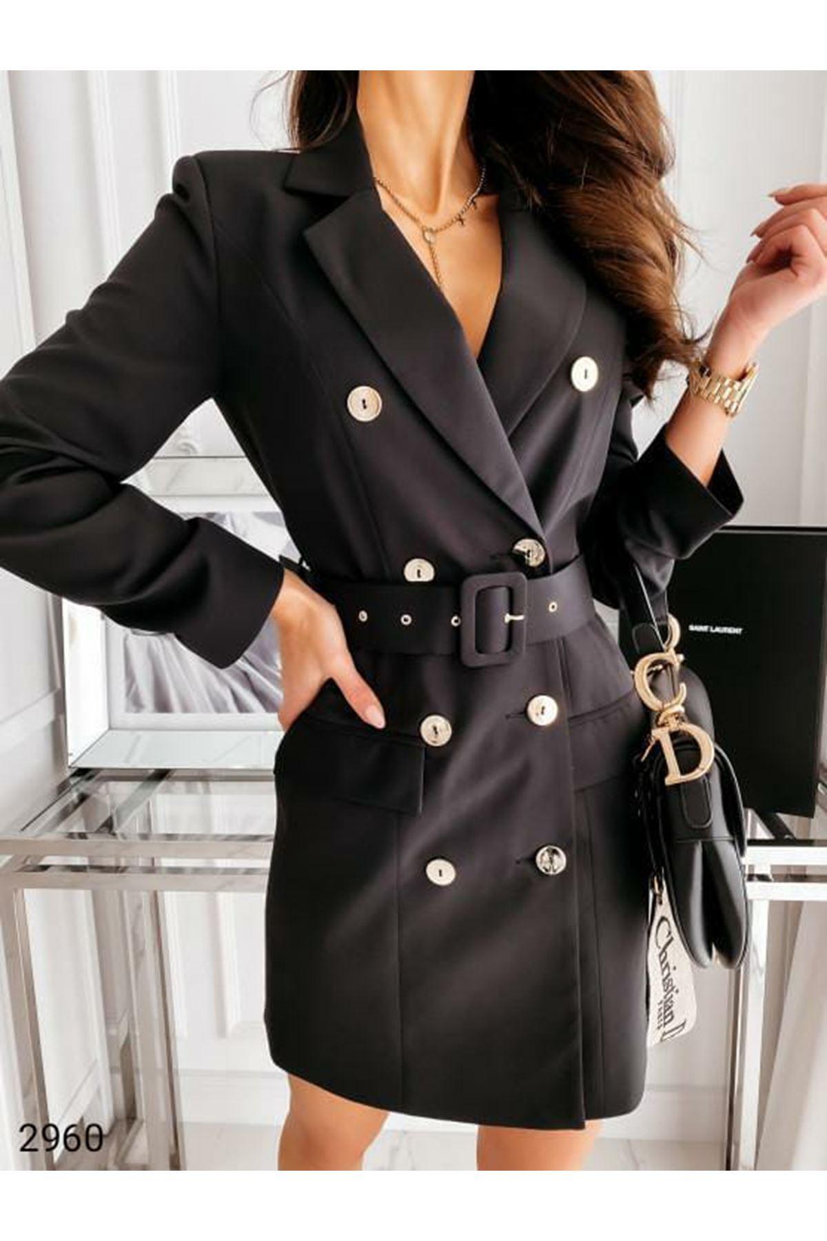 Kemer Detaylı Ceket Elbise - Siyah