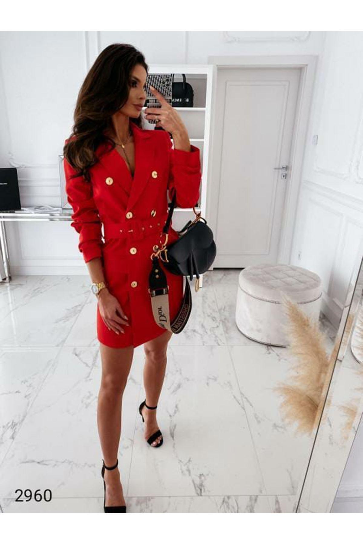 Kemer Detaylı Ceket Elbise - KIRMIZI