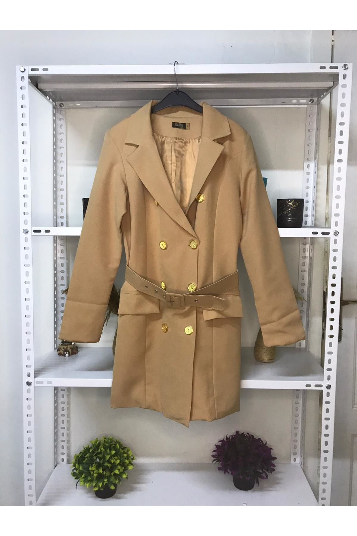 Kemer Detaylı Ceket Elbise - CAMEL