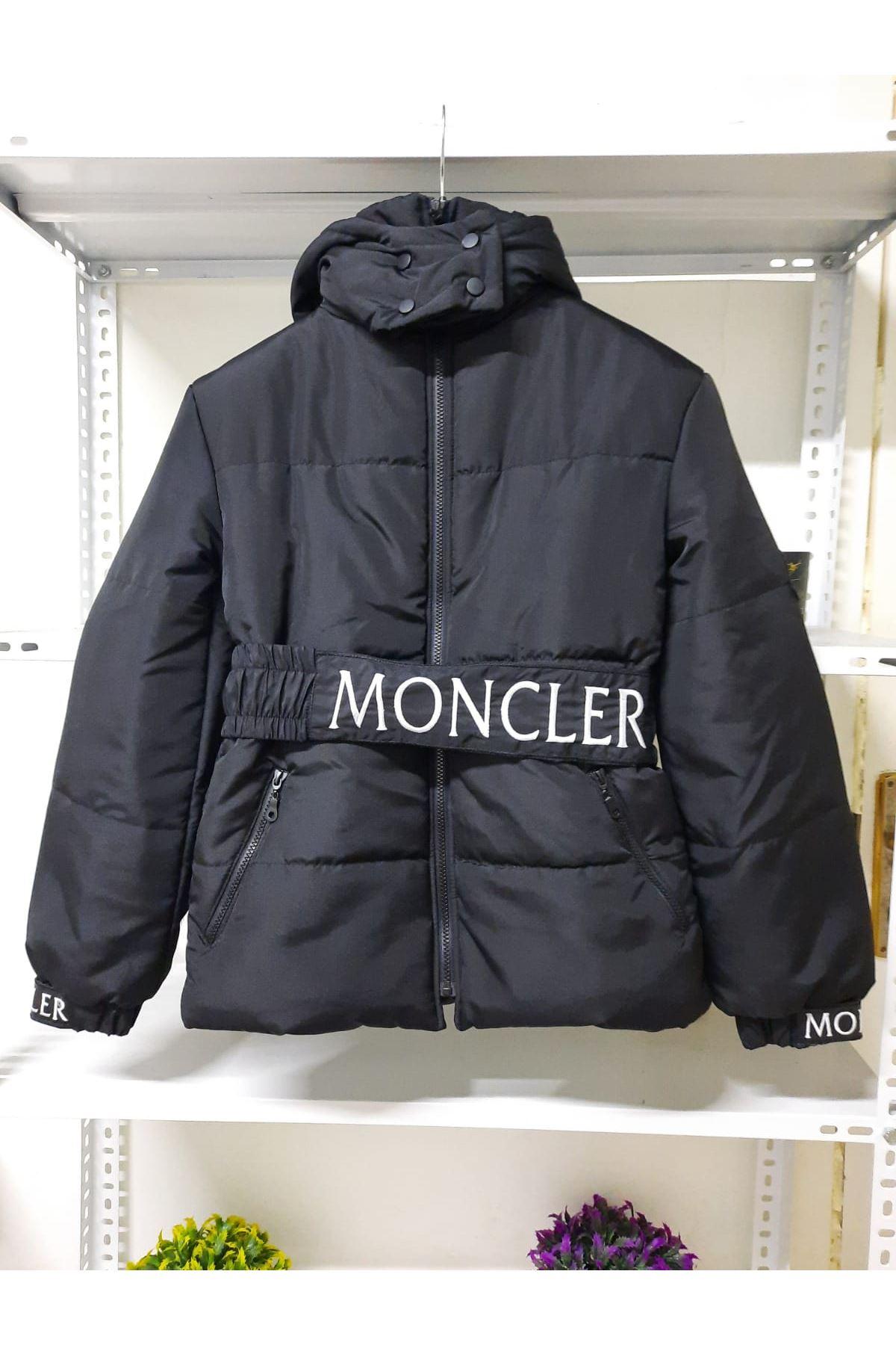 Bel Kemerli Şişme Mont - Siyah
