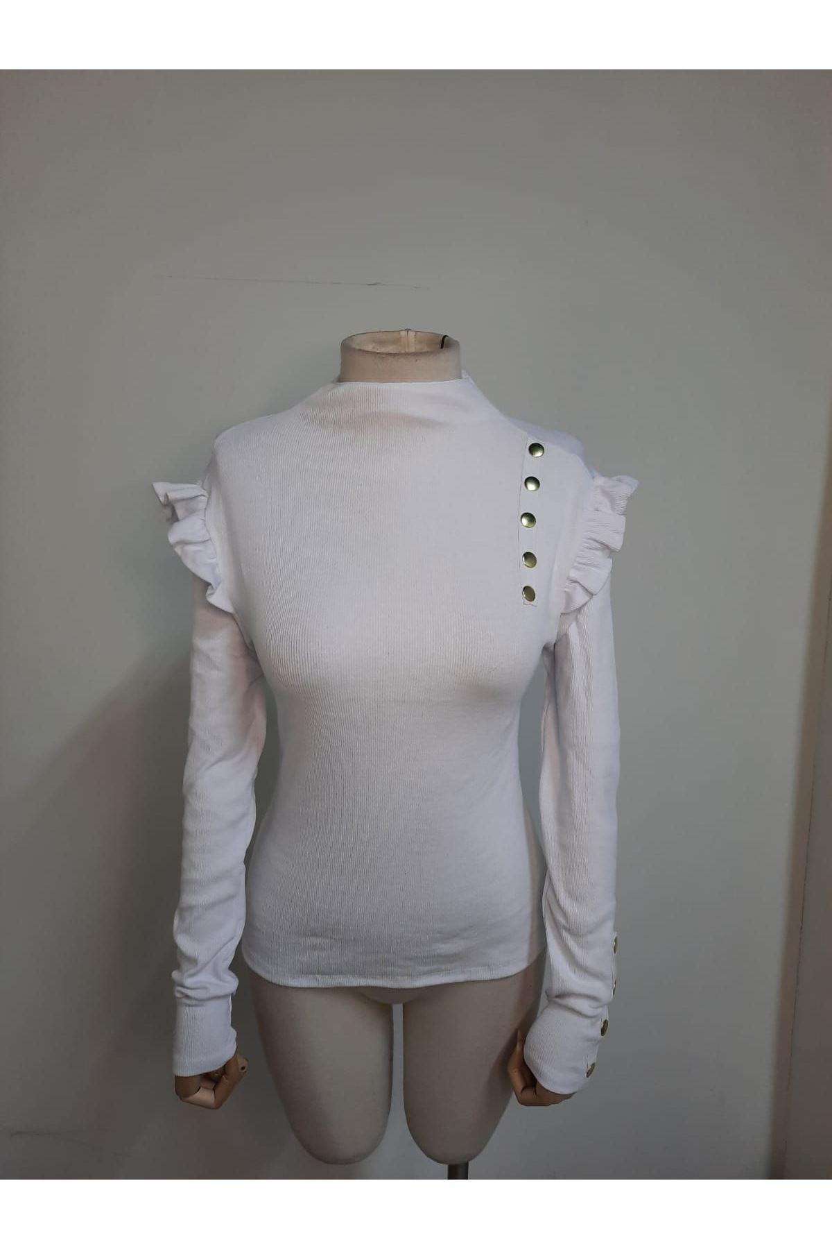 Düğmeli Prenses Omuz Bluz - Beyaz