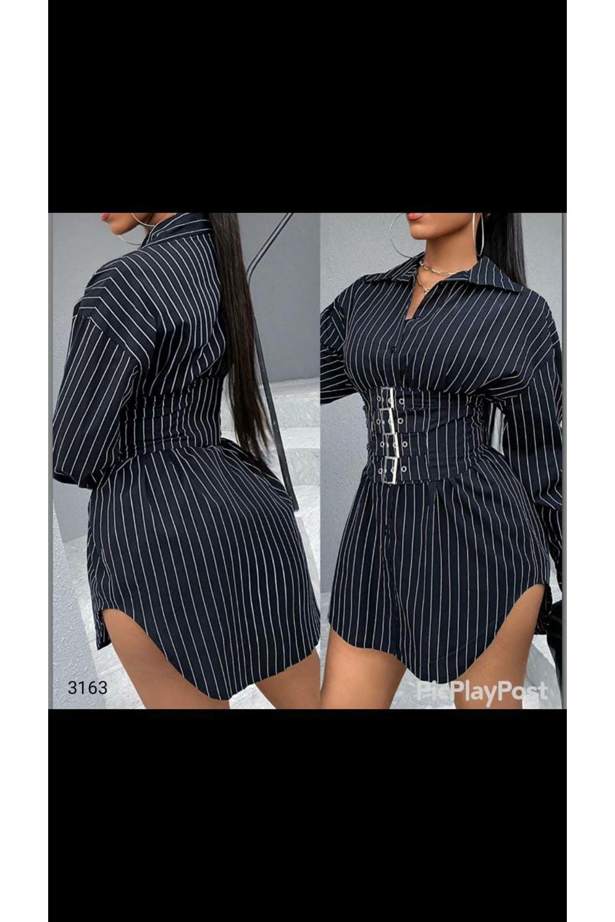 Tokalı Kemerli Tunik Elbise - siyah