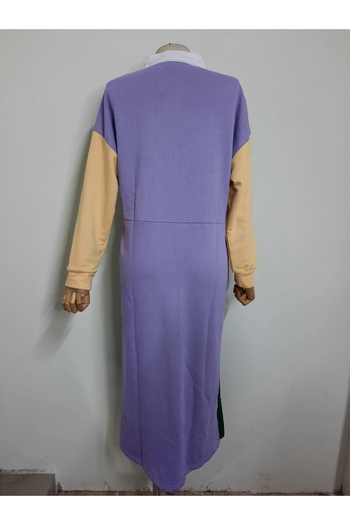 Üç İplik Garnili Elbise - Multi