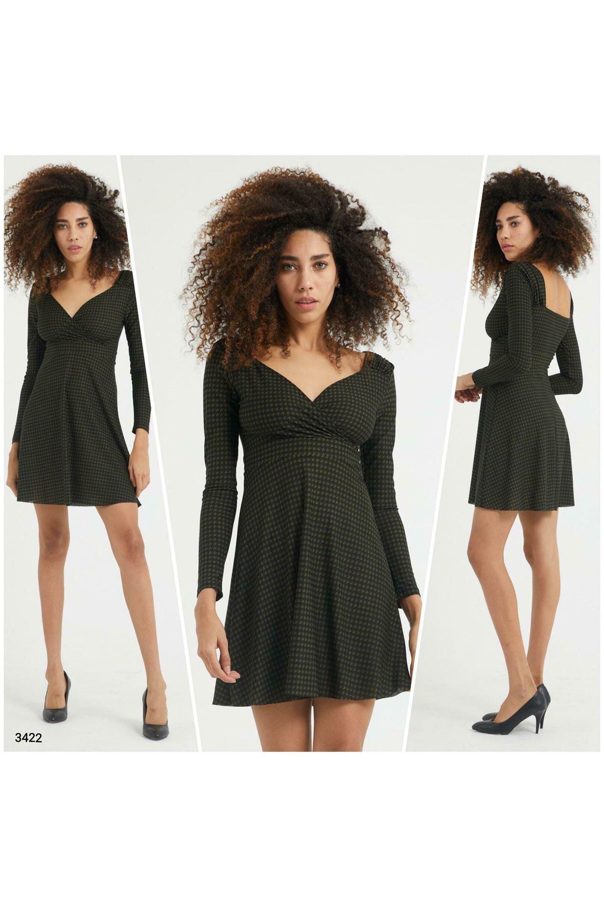Sırt U Yaka Mini Elbise - Haki