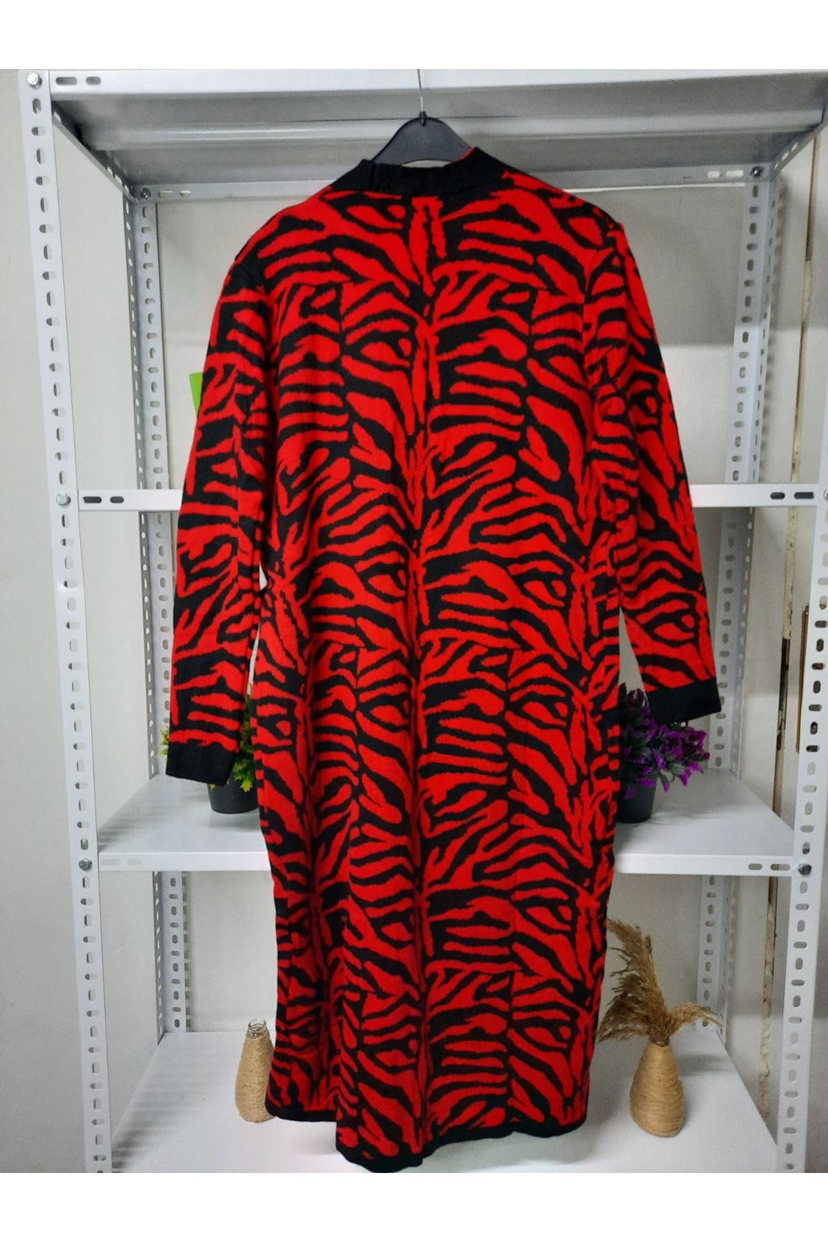 Zebra Desen Hırka - kırmızı
