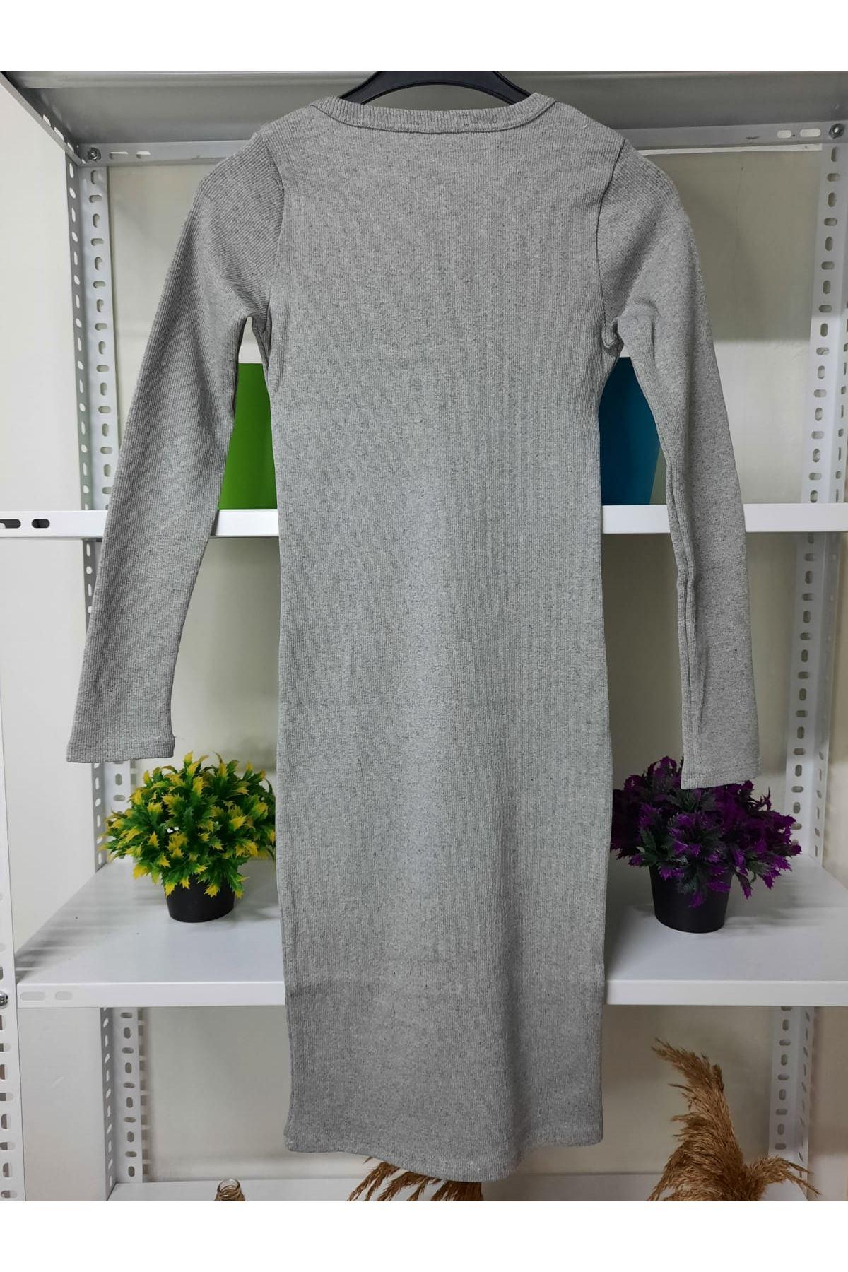 Çıtçıt Detaylı Kaşkorse Elbise - GRİ