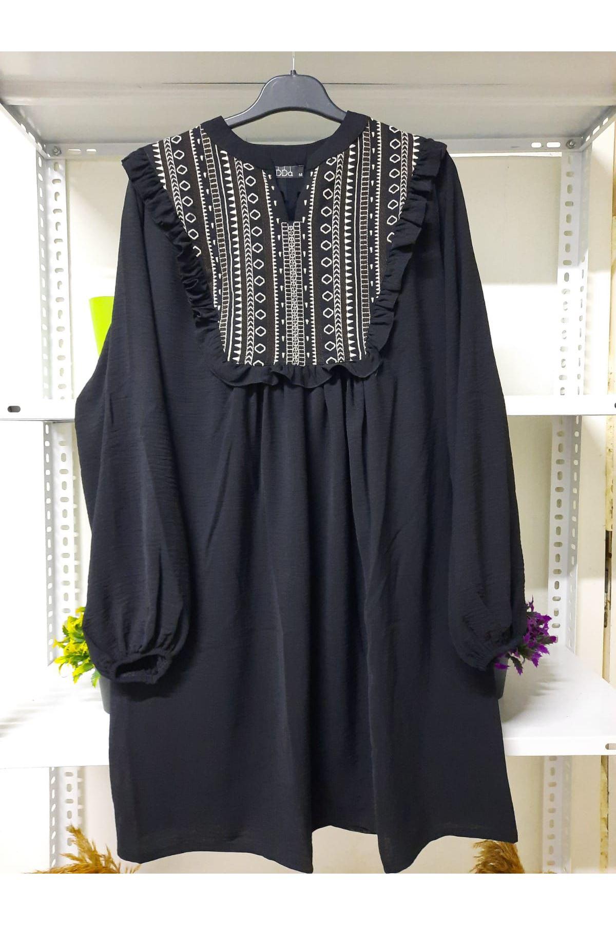 Omuz Fırfır Elbise - SİYAH