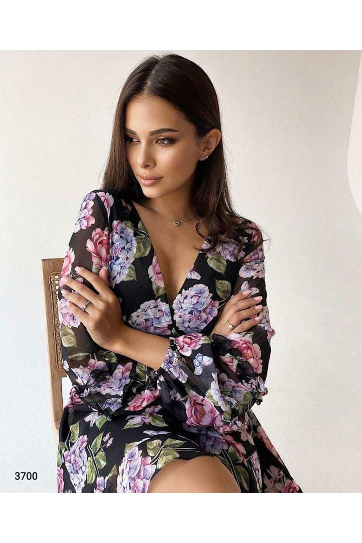 Çiçek Desen Astarlı Elbise - siyah