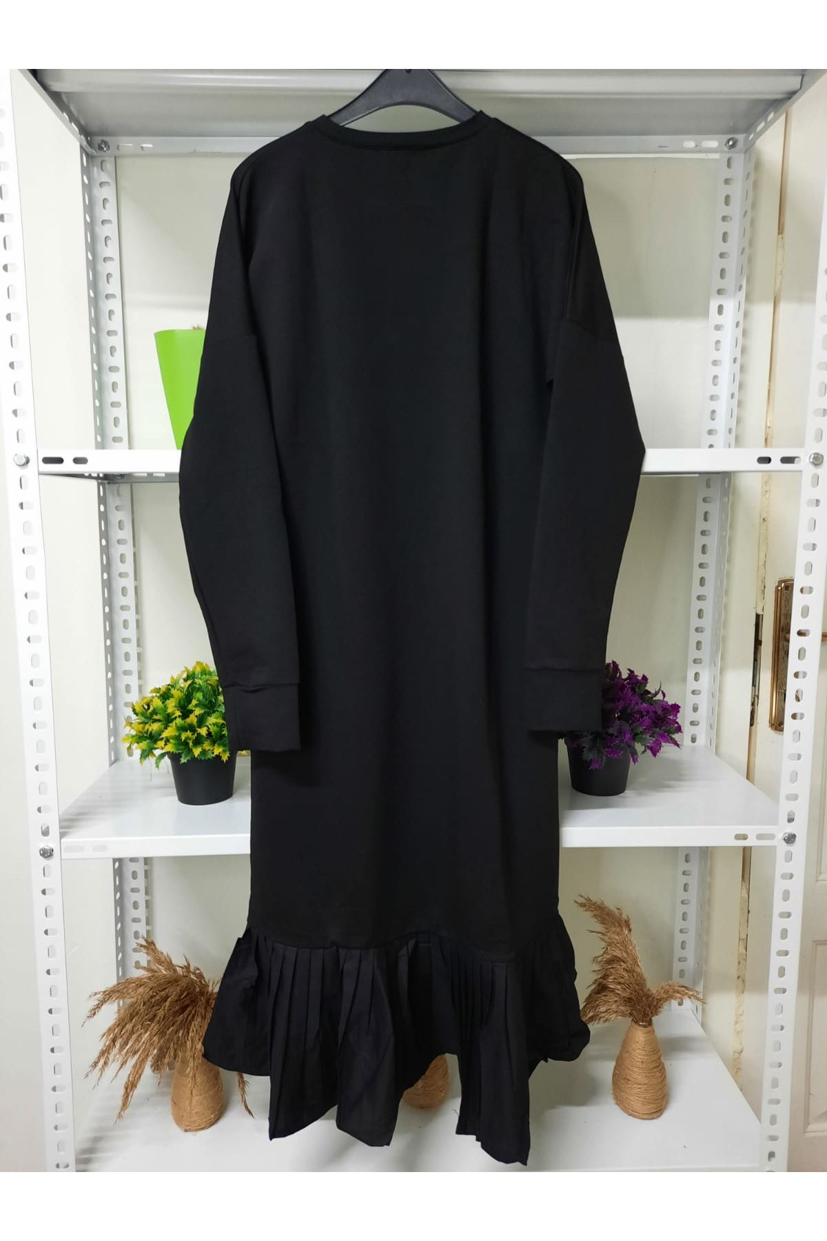 Eteği Piliseli İki İplik Elbise - siyah