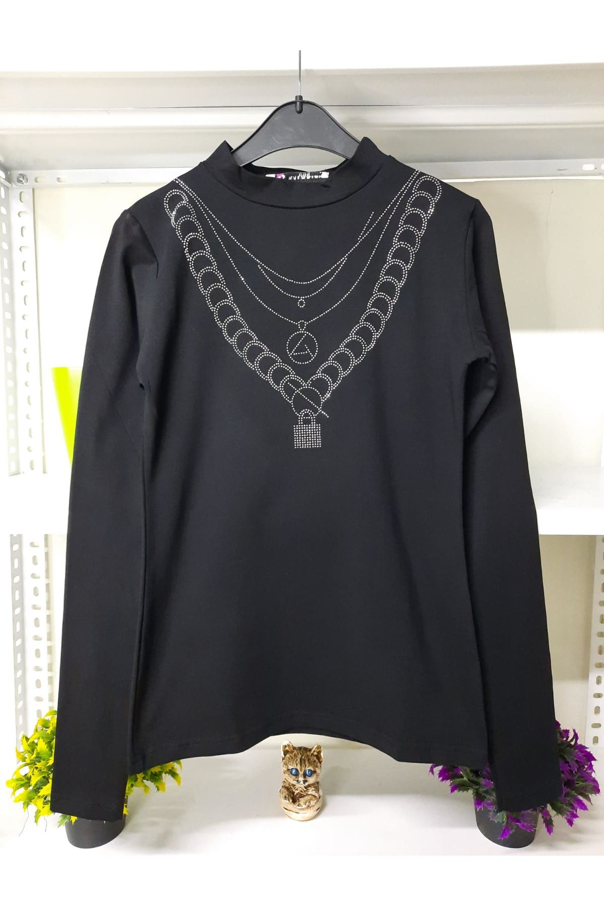 Taşlı Tasarım Bluz - siyah
