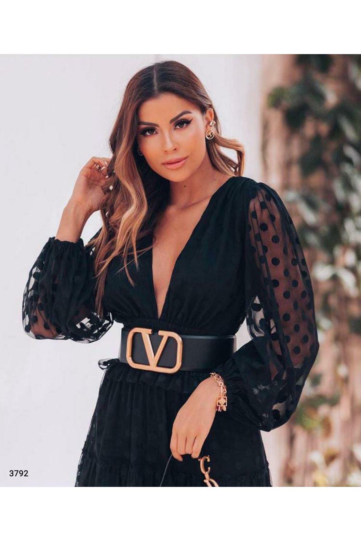 Puanlı Kemerli Elbise - siyah